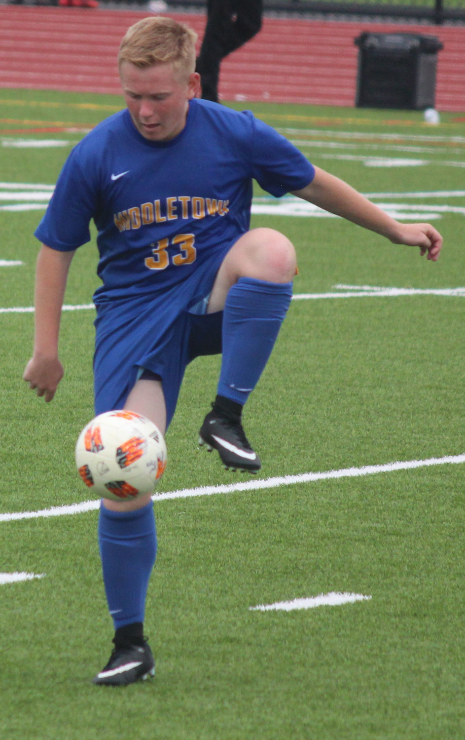 Mason Garza traps the ball Sept. 1 vs. the Schuylkill Valley Panthers.