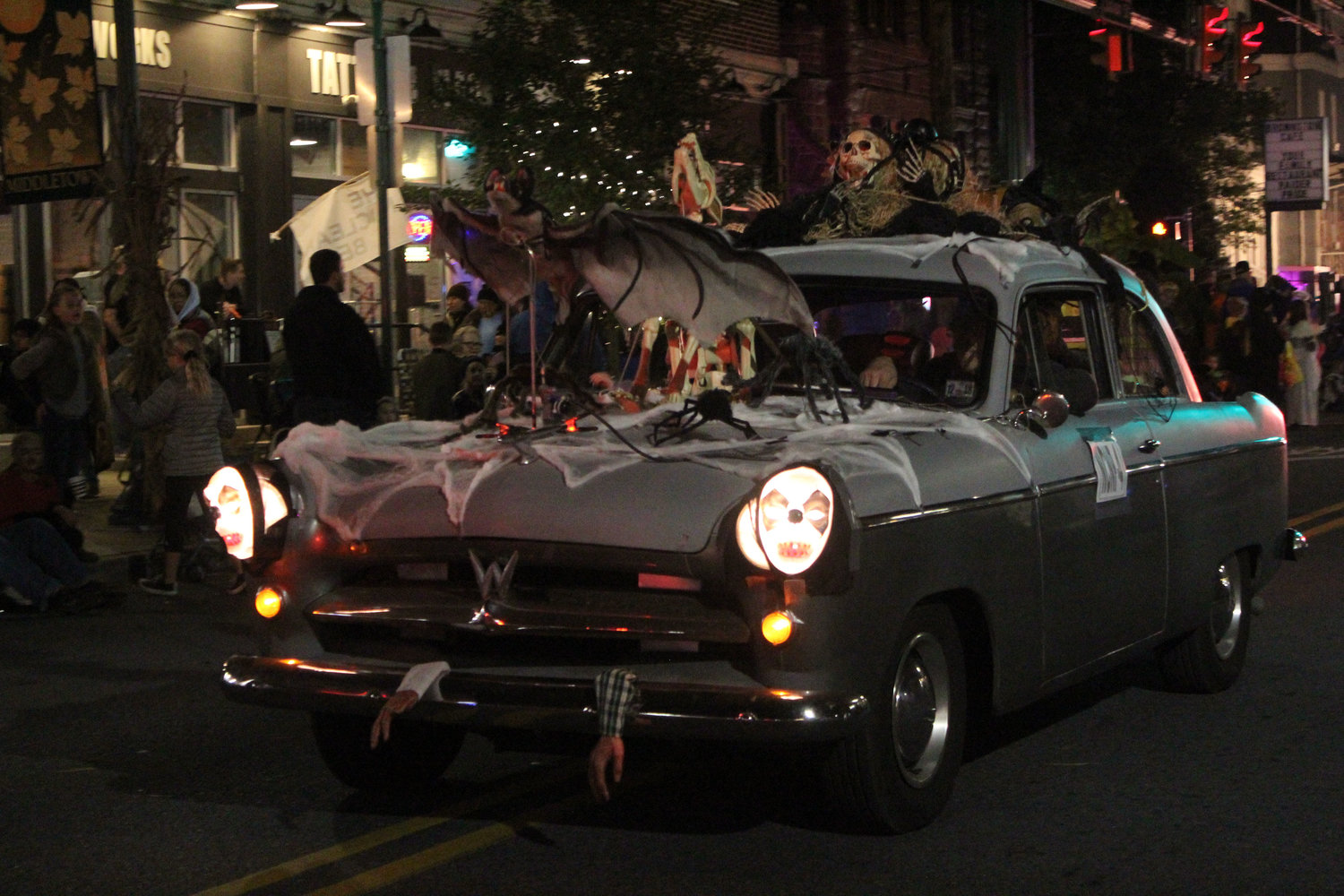 A decorated car drives through the Halloween parade on Oct. 16.