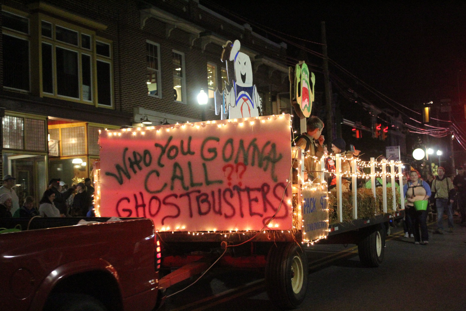 Boy Scout Pack 97 had a Ghostbusters-themed float in the Halloween parade on Oct. 16.