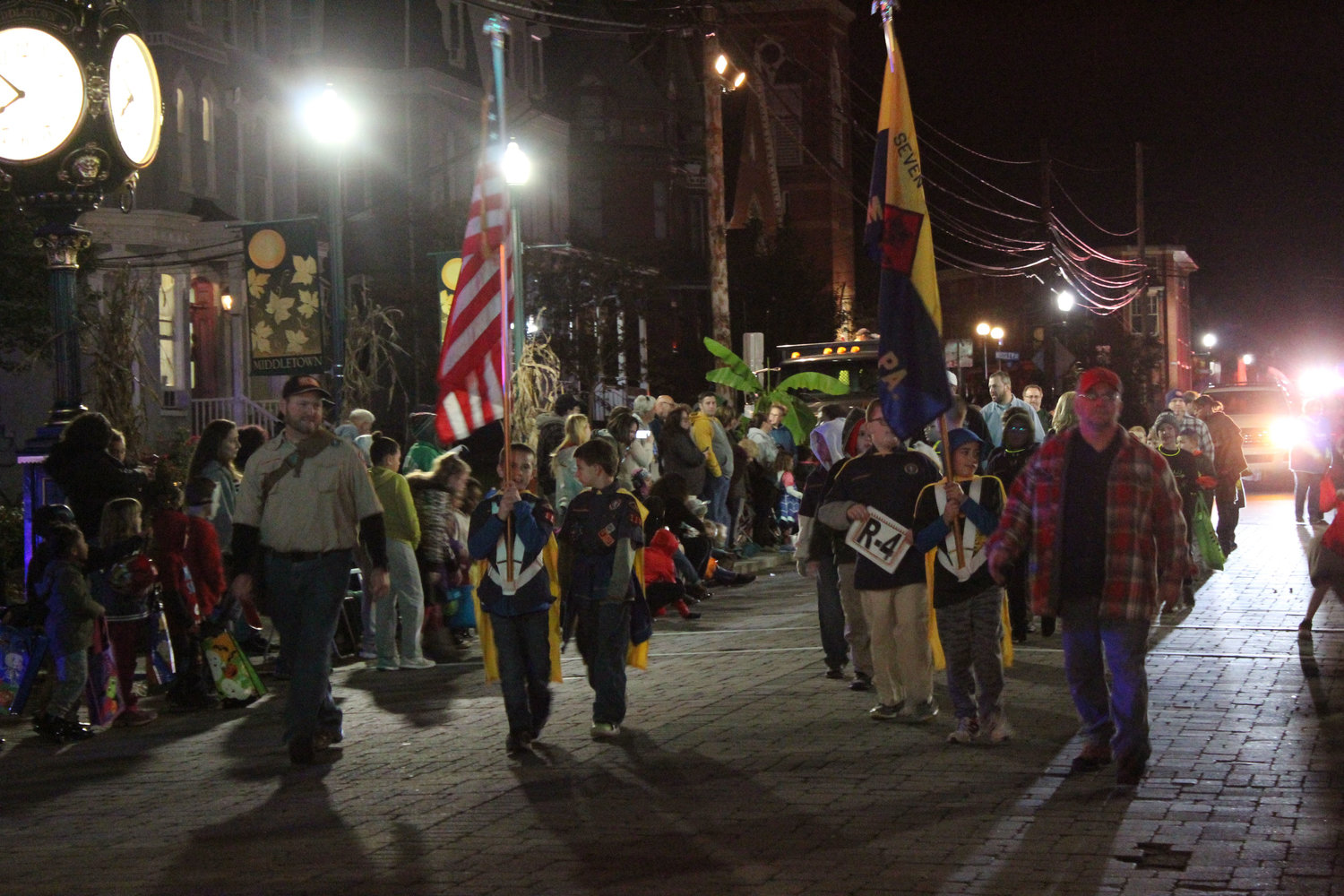 The Boy Scouts walk in the Halloween parade on Oct. 16.