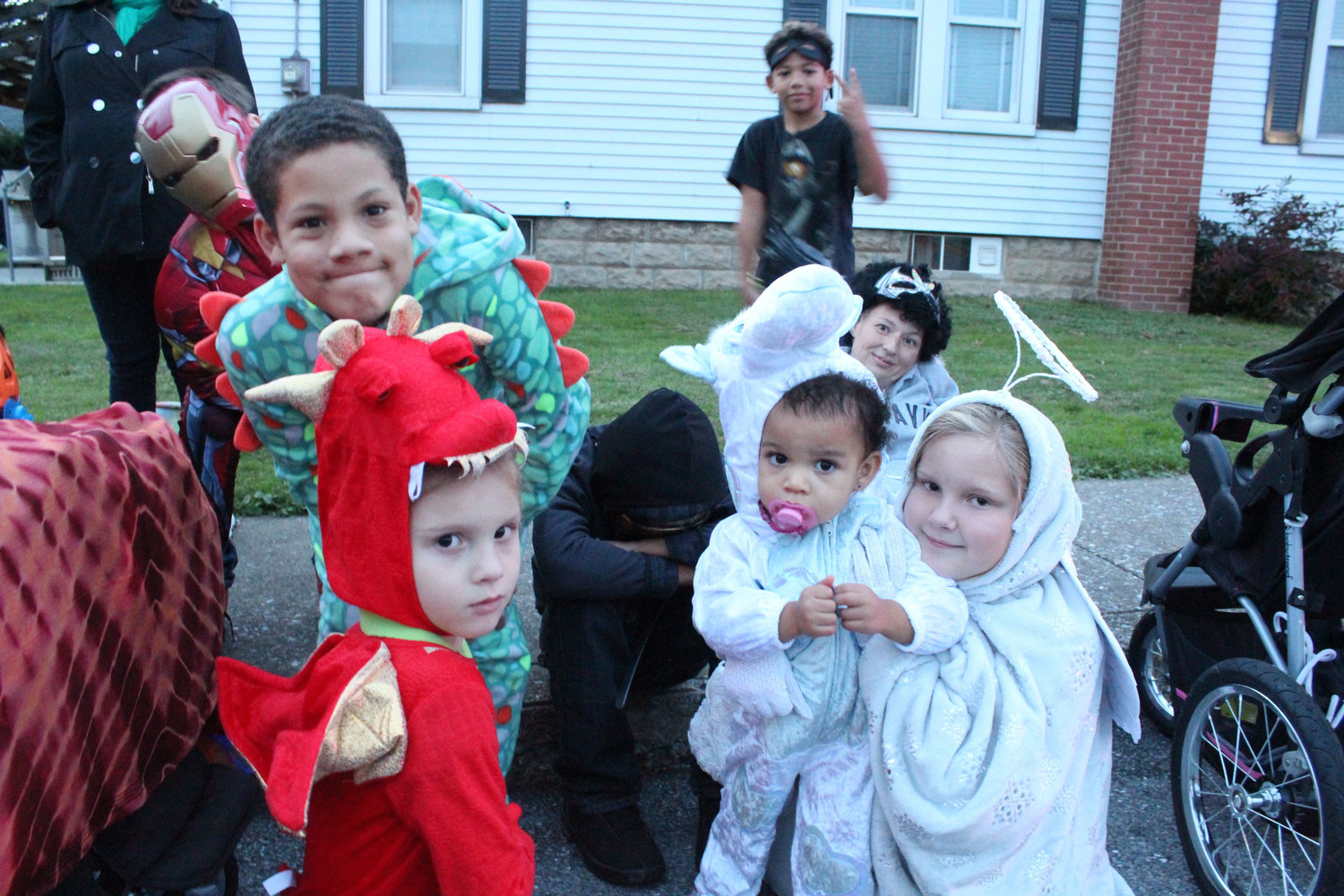 Jacob Book, Quamart Willard, Lizzy Coolidge, Ny-Taliya Deppe and Makenzie Willard dressed up for the Halloween parade.