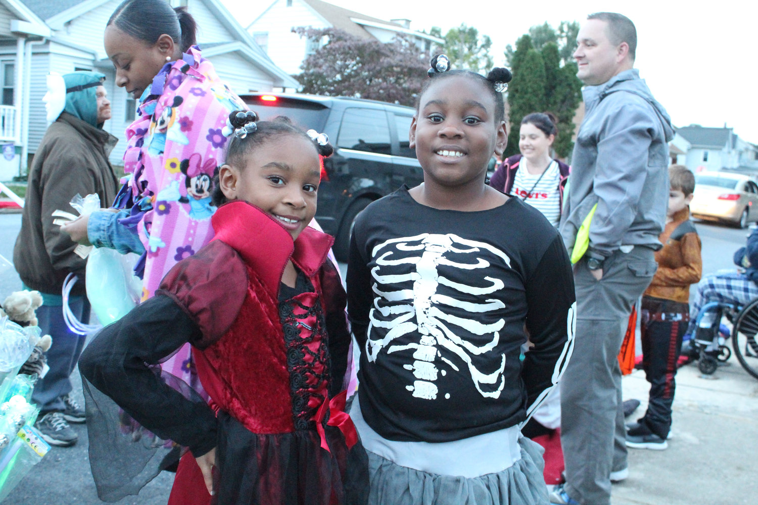 Kanai Wallace and Kanarie Wallace donned their costumes for the Halloween parade on October. 16