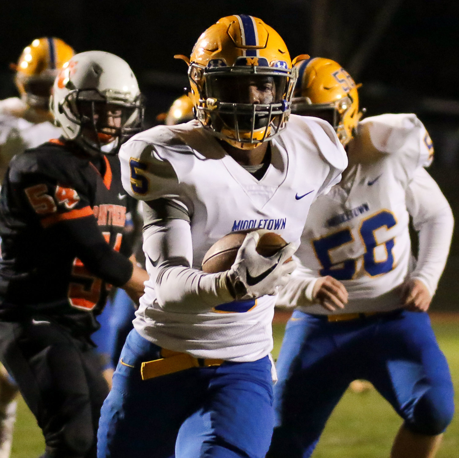 Trayvon Joseph takes off with an interception return for a score in a 28-0 win over East Pennsboro on Oct. 19.