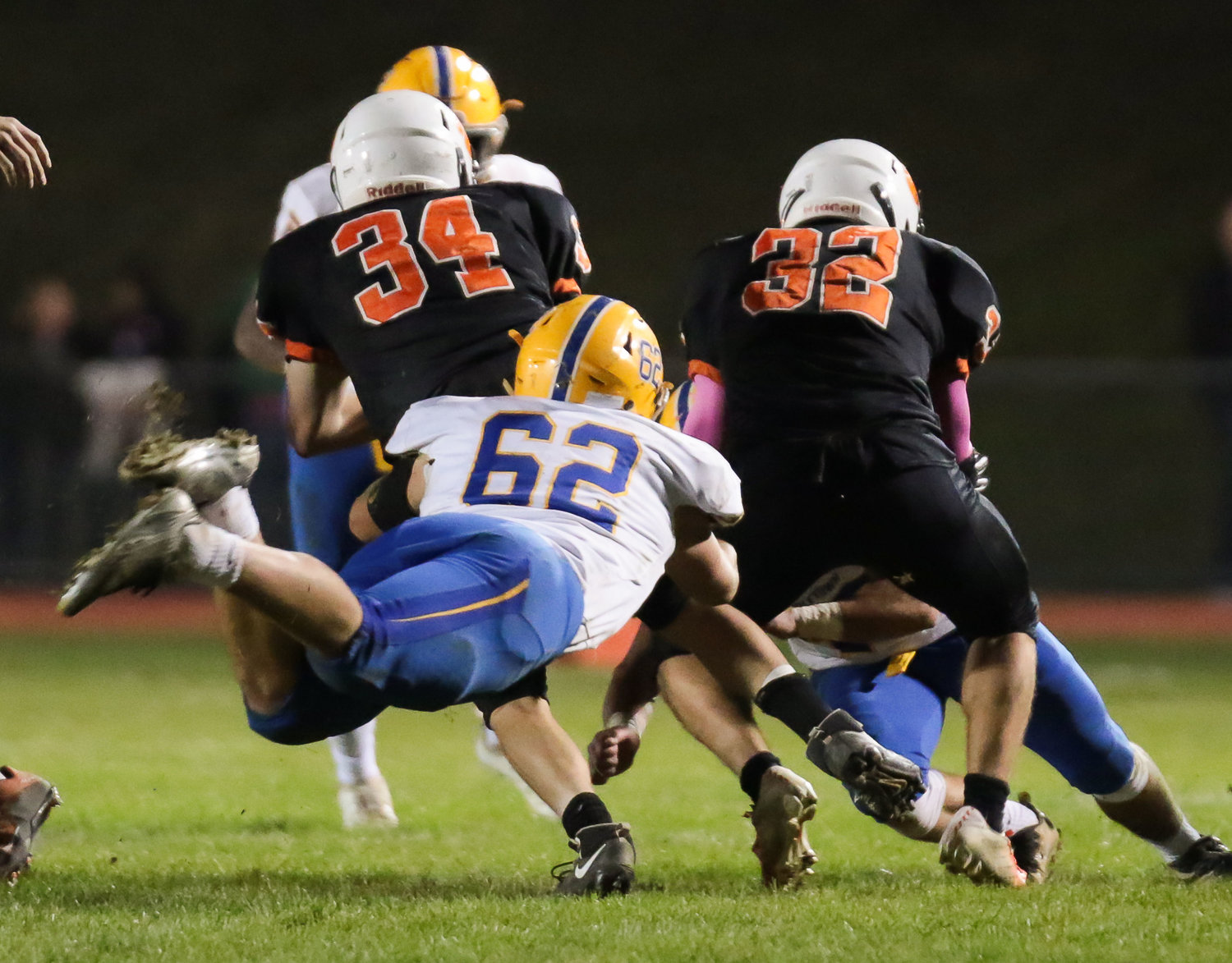 Cole Senior flies through the air for a tackle Oct. 19 vs. East Pennsboro.