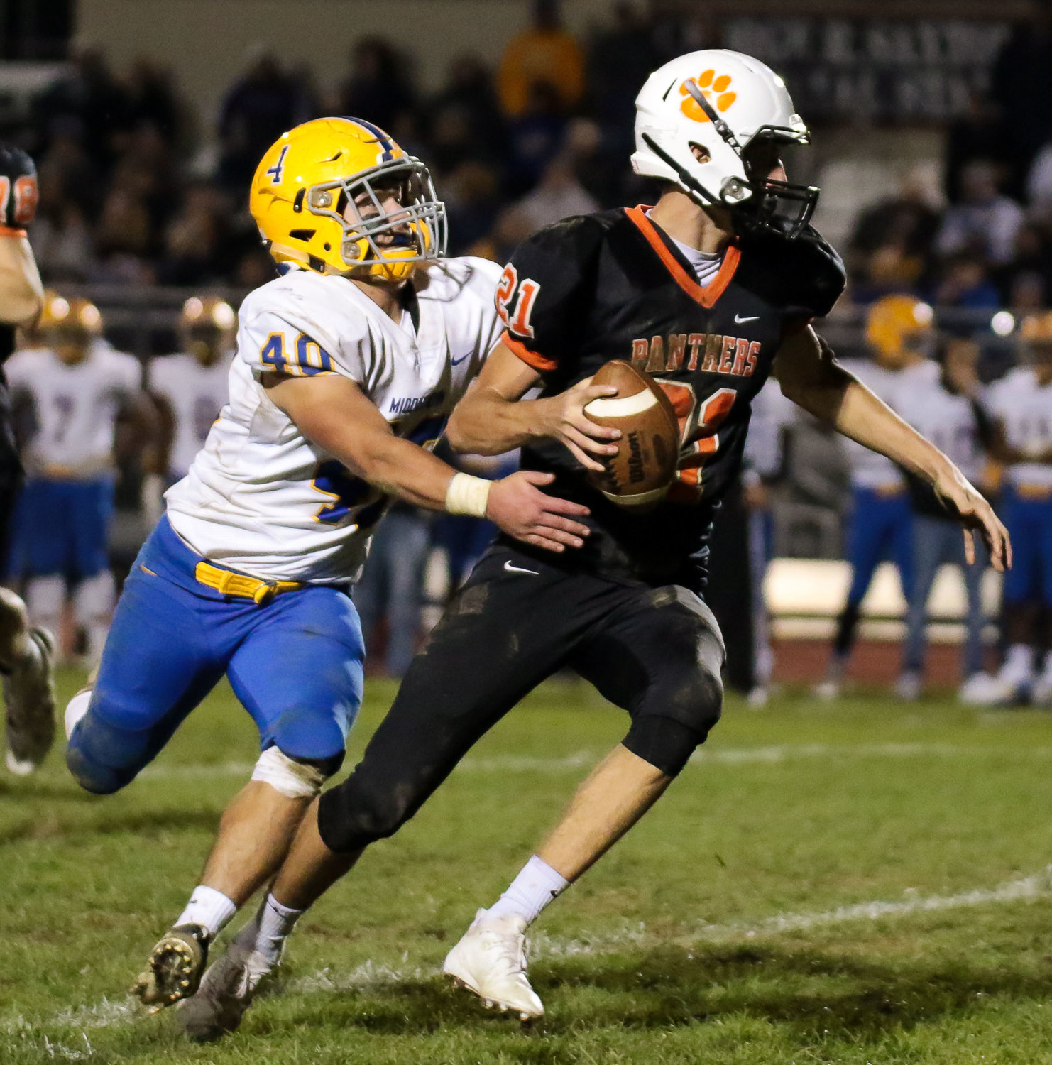 Gage Radabaugh goes in for the tackle Oct. 19 vs. East Pennsboro.