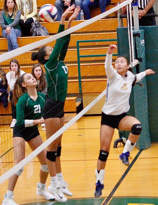 Katie Knaub jumps at the net during Middletown's district matchup with York Catholic on Oct. 30.
