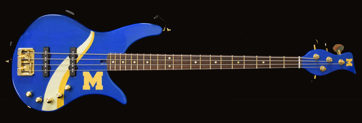 This is the bass guitar that Darryl Betts custom-built for the Middletown Area High School band.