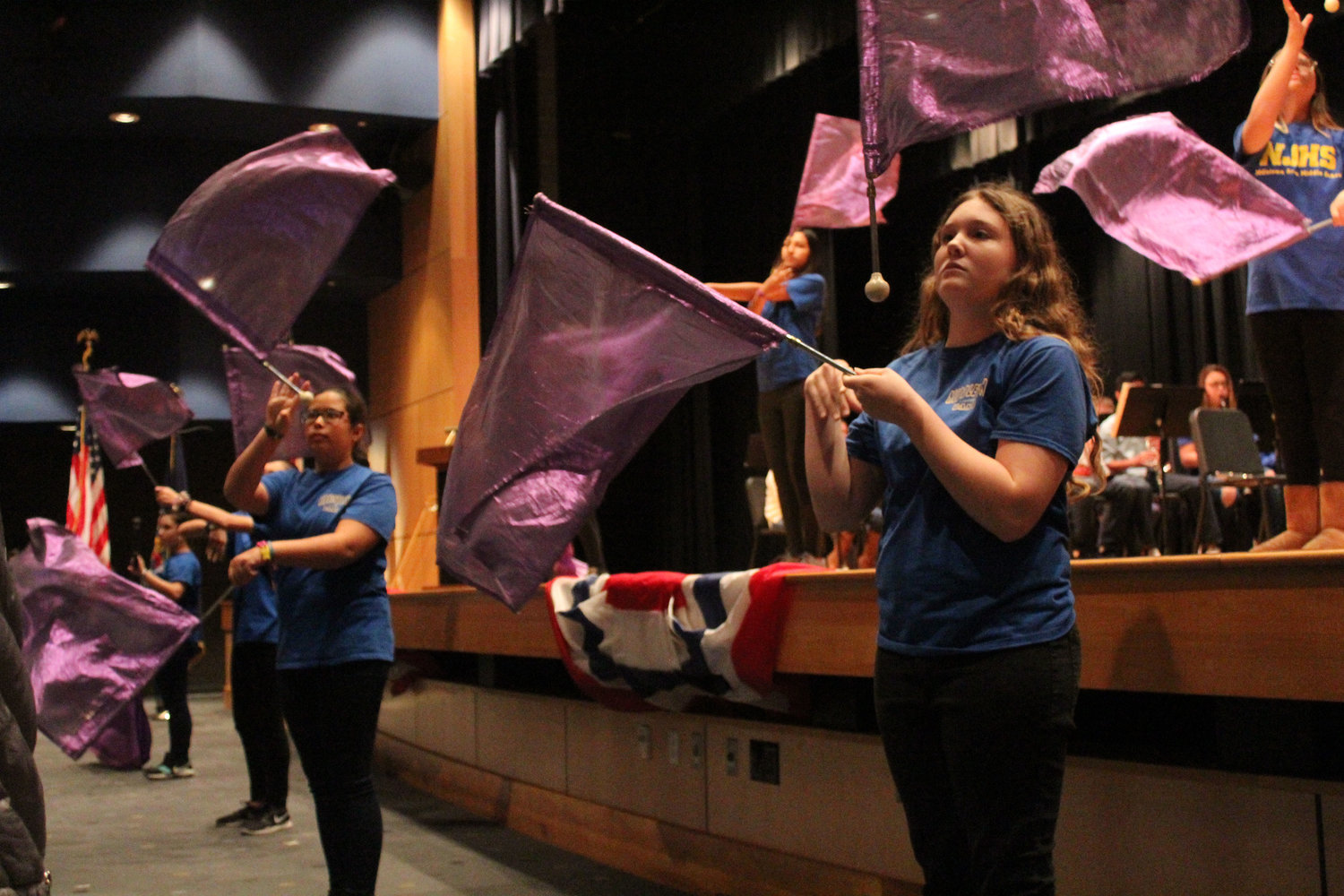 The color guard performs during the Veterans Day Program Nov. 9 at MAMS.
