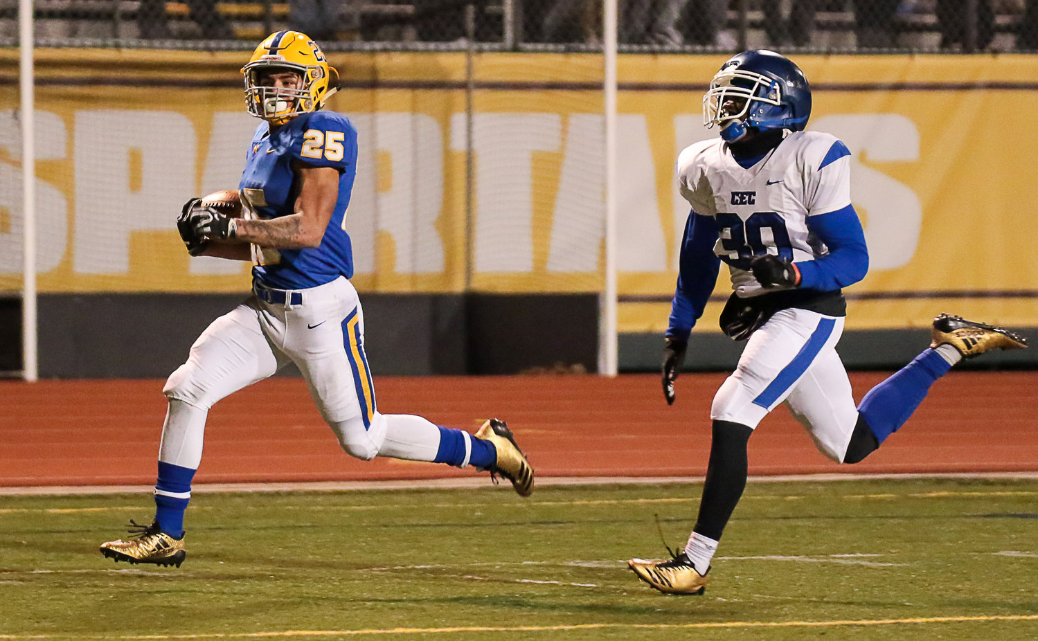 A Conwell-Egan defender can't catch Jose Lopez during Middletown's 21-14 win at Milton Hershey High School in the PIAA 3A state quarterfinals Nov. 23.