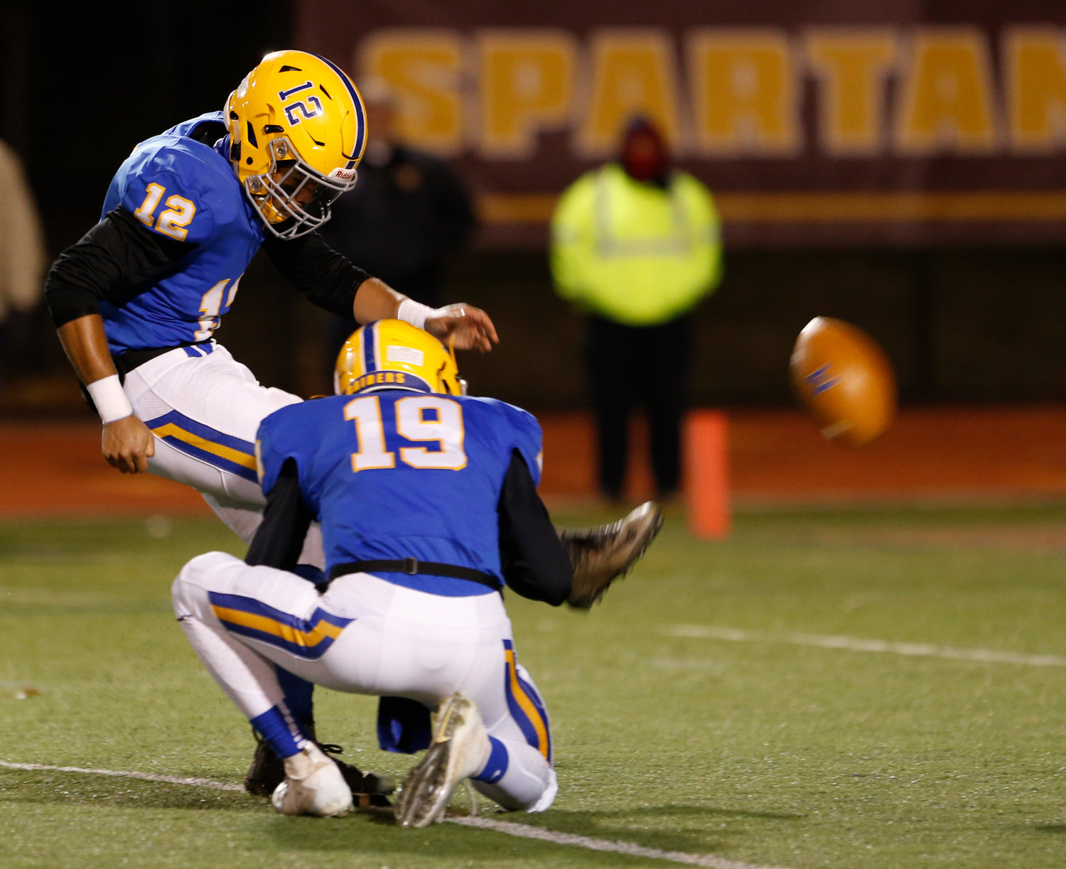 Avery Williams kicks an extra point during Middletown's 21-14 win over Conwell-Egan at Milton Hershey High School in the PIAA 3A state quarterfinals Nov. 23.