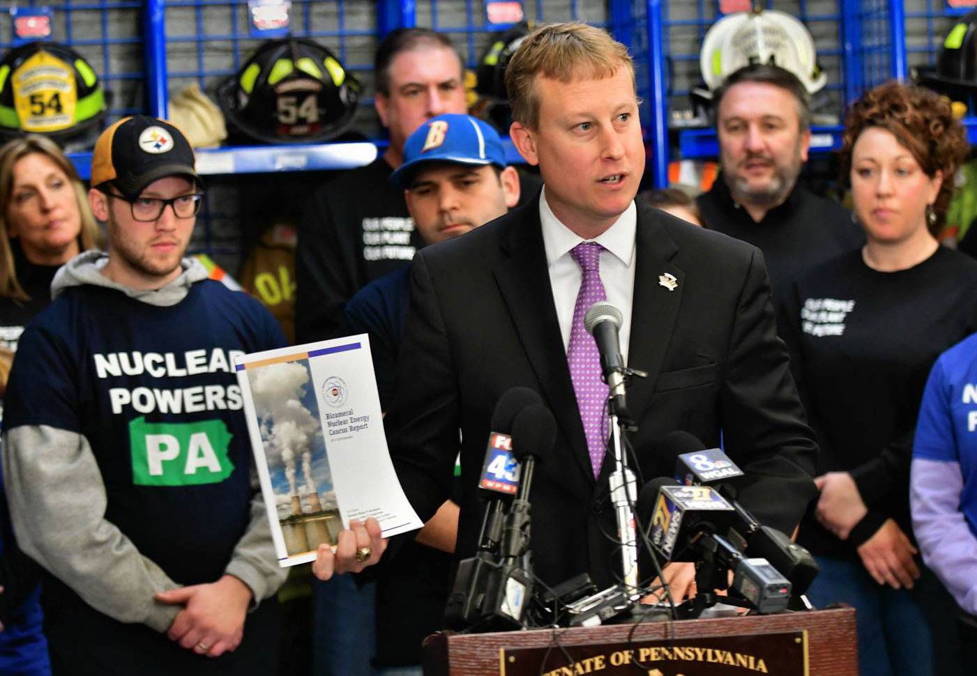 Sen. Ryan P. Aument, a Republican from Landisville and co-chairman of the Pennsylvania Nuclear Energy Caucus, speaks Thursday at the Londonderry Township fire hall about how state goverment can act to prevent the premature closings of the Three Mile Island and Beaver Valley nuclear power plants