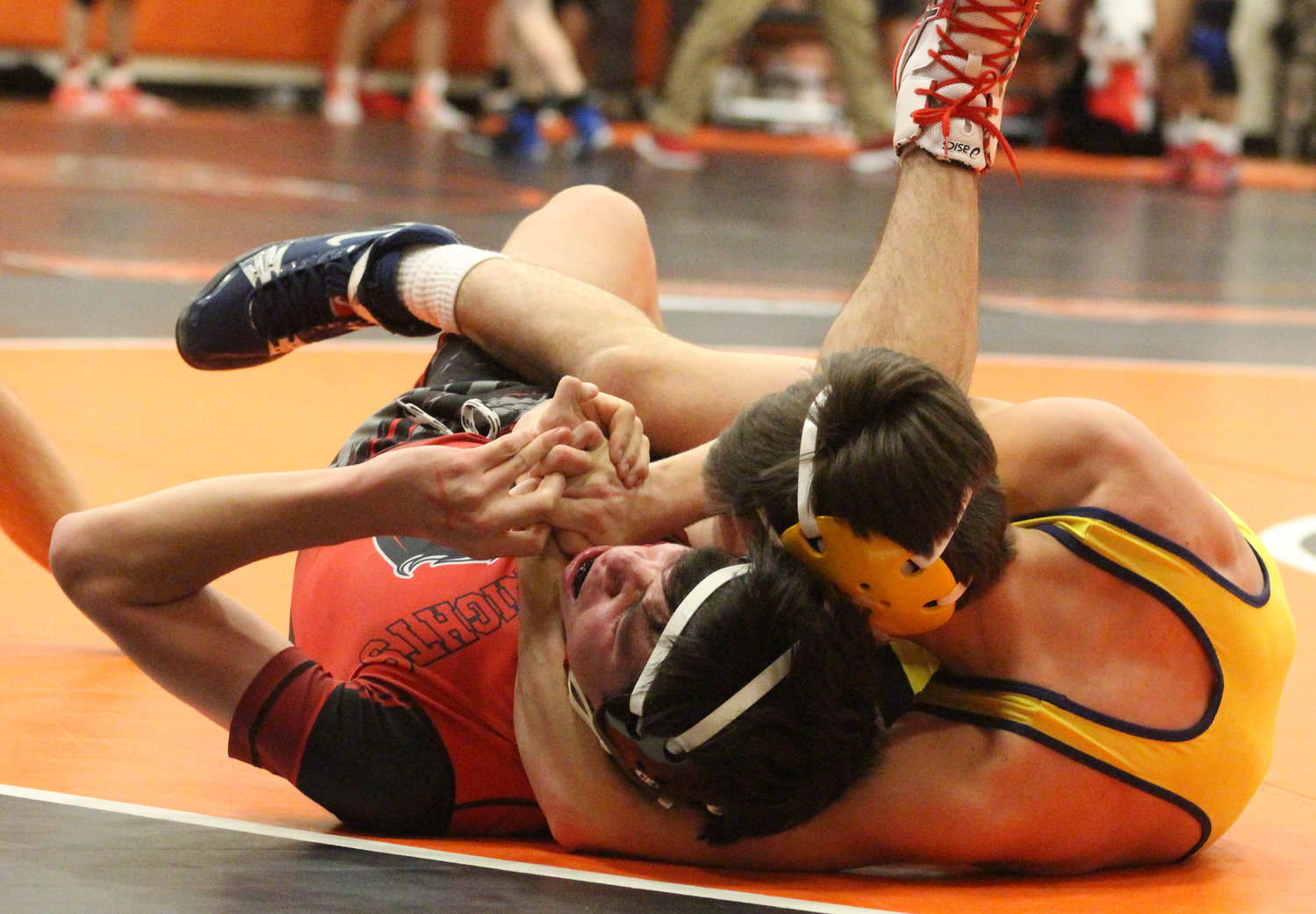 Ryan Berstler pins Joe Giesen from Reading in the Snacktown Duals in Hanover.