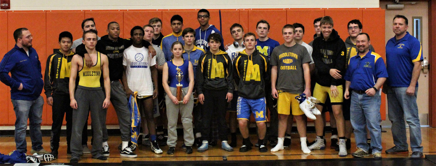 The Middletown wrestling team shows off its second-place trophy from the Snacktown Duals event.