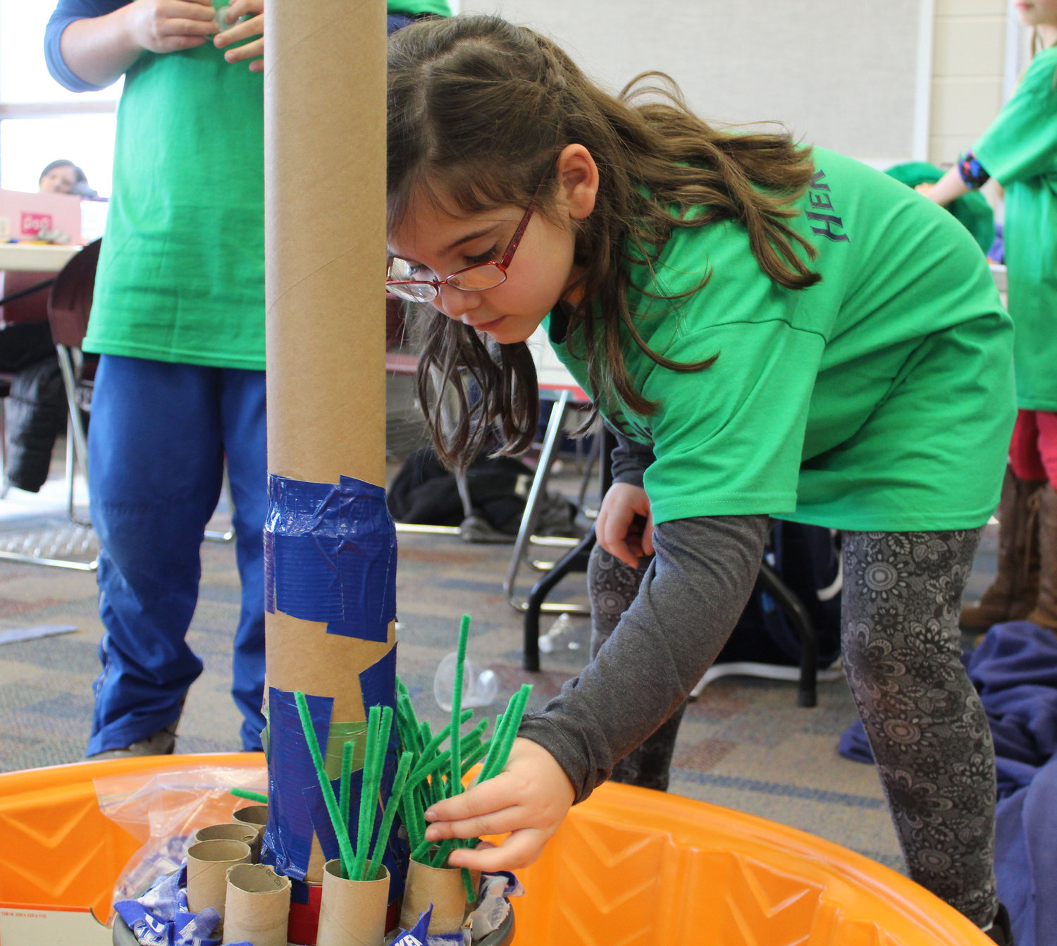 Zoe Handwerk was one of four Middletown fifth-graders who participated in the Challenge Day for gifted students from four area school districts on Nov. 29. The students were challenged to focus on foundation and build a tower that could withstand wind, an earthquake and weight.