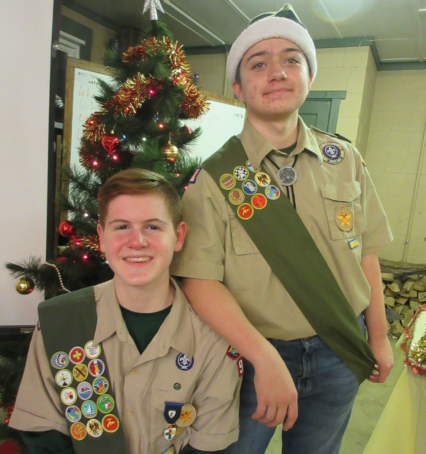 Luke Spangenberg, seated, and Mason Barrick earned the rank of Star Scout. They serve as role models to younger Scouts and as leaders to their troop.