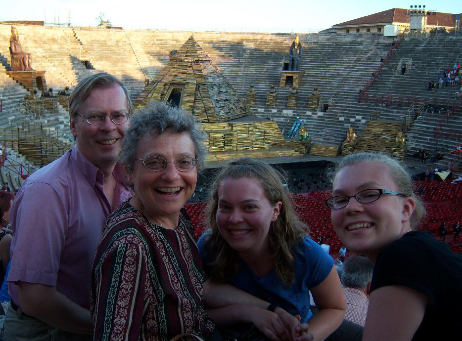 Susannah Gal and family enjoy the sights at  the Arena in Verona, Italy in July 2010.
