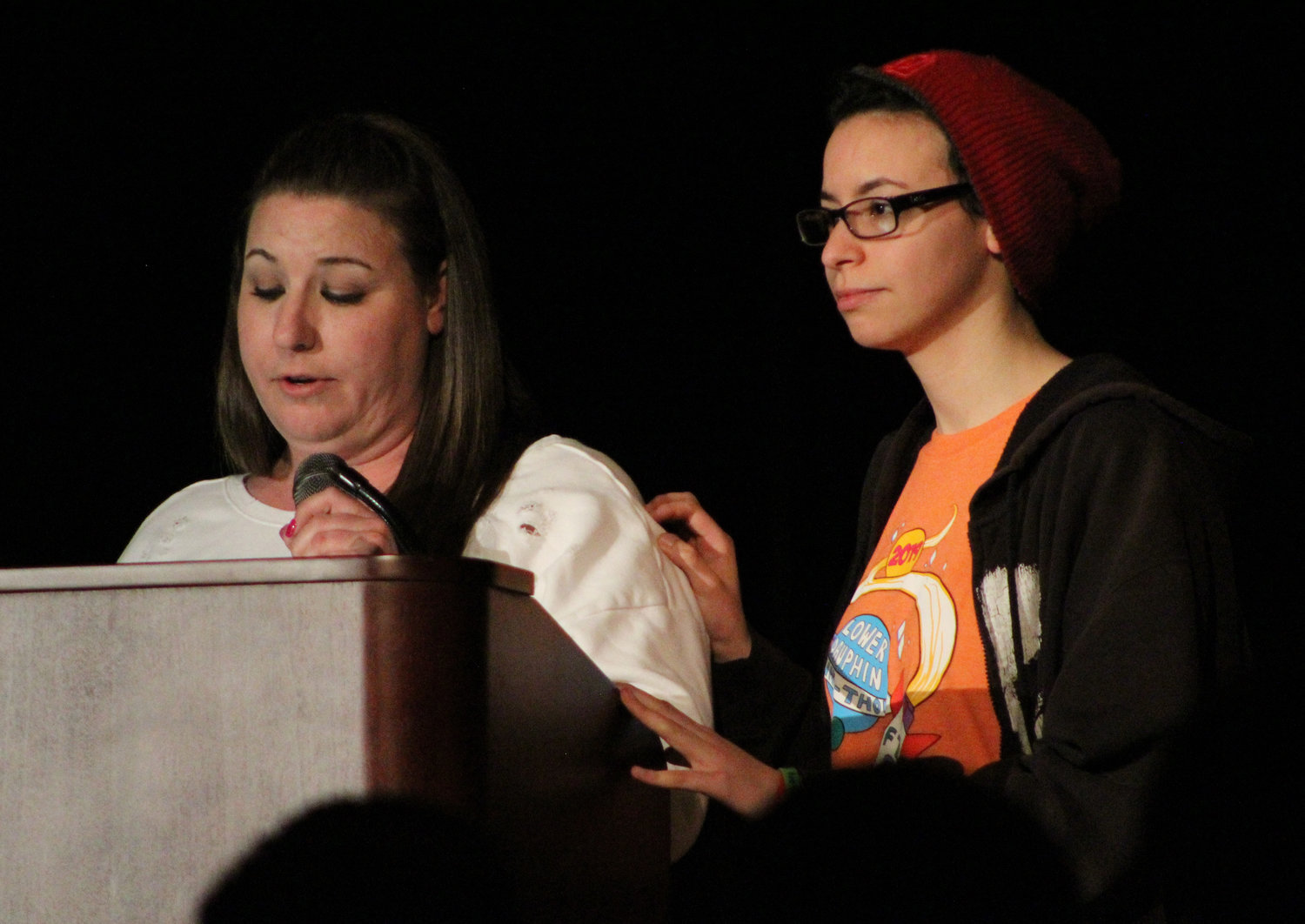 This year's Four Diamonds family Nicole and Makenzie Mehalick speak during Mr. Middletown on March 29.