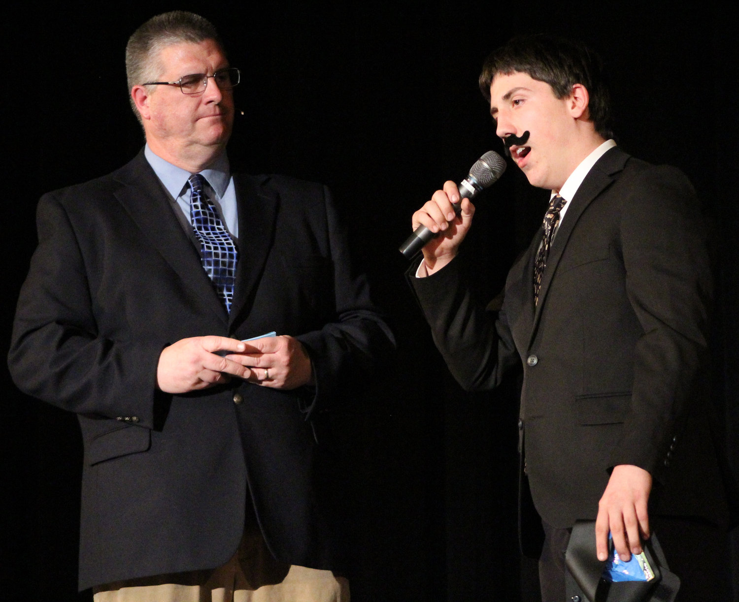 William Stone answers emcee Brian Keyser's question during Mr. Middletown on March 29.