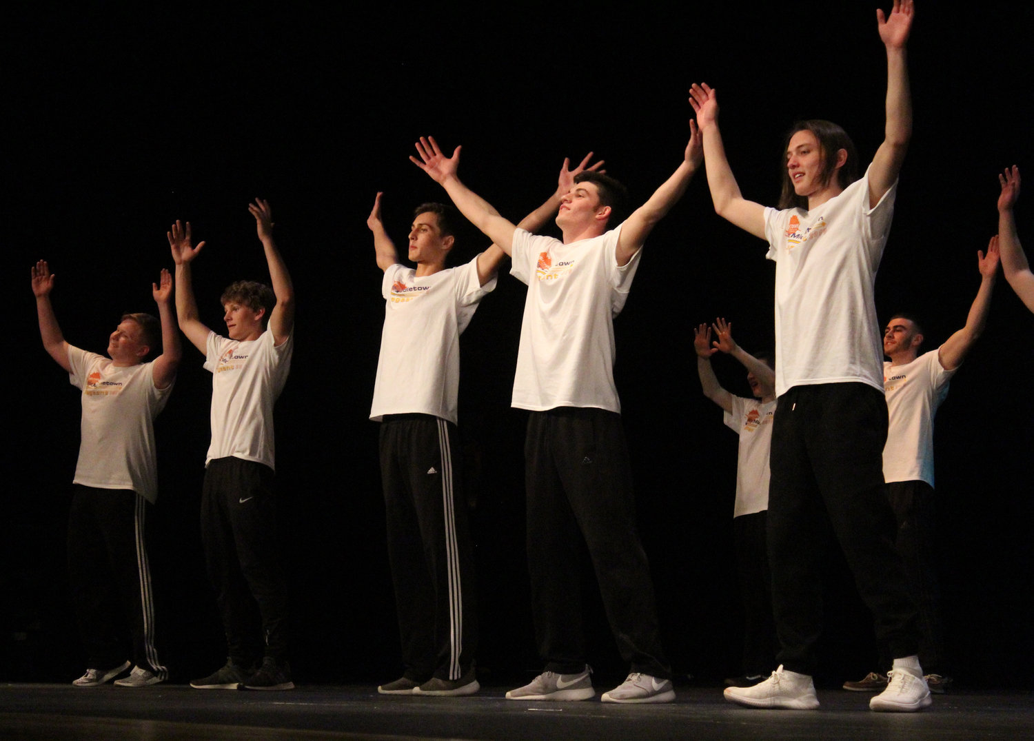 "Mason Garza, Ben Knisely, Aiden Sessa, Scott Ash and Camden Shetter perform in the group dance to ""Walking on Sunshine"" during the Mr. Middletown group dance on March 29."