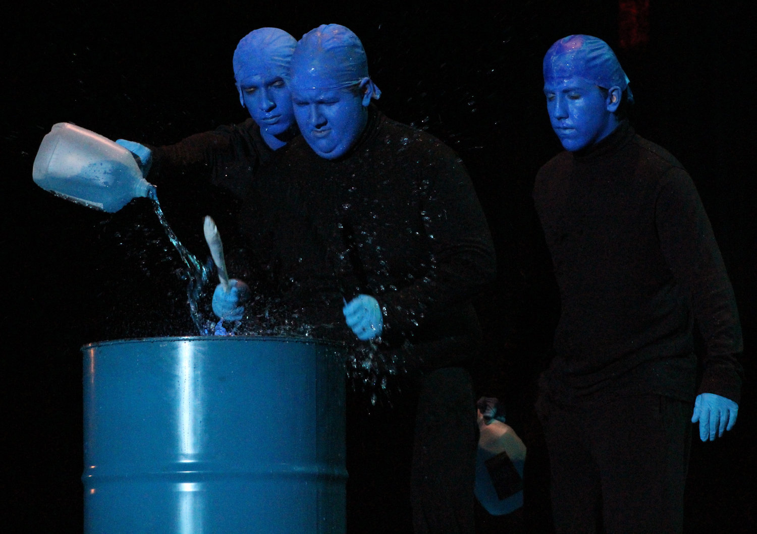 Anthony LaVia, Nick Holmes and William Stone perform a Blue Man Group parody during Mr. Middletown on March 29.