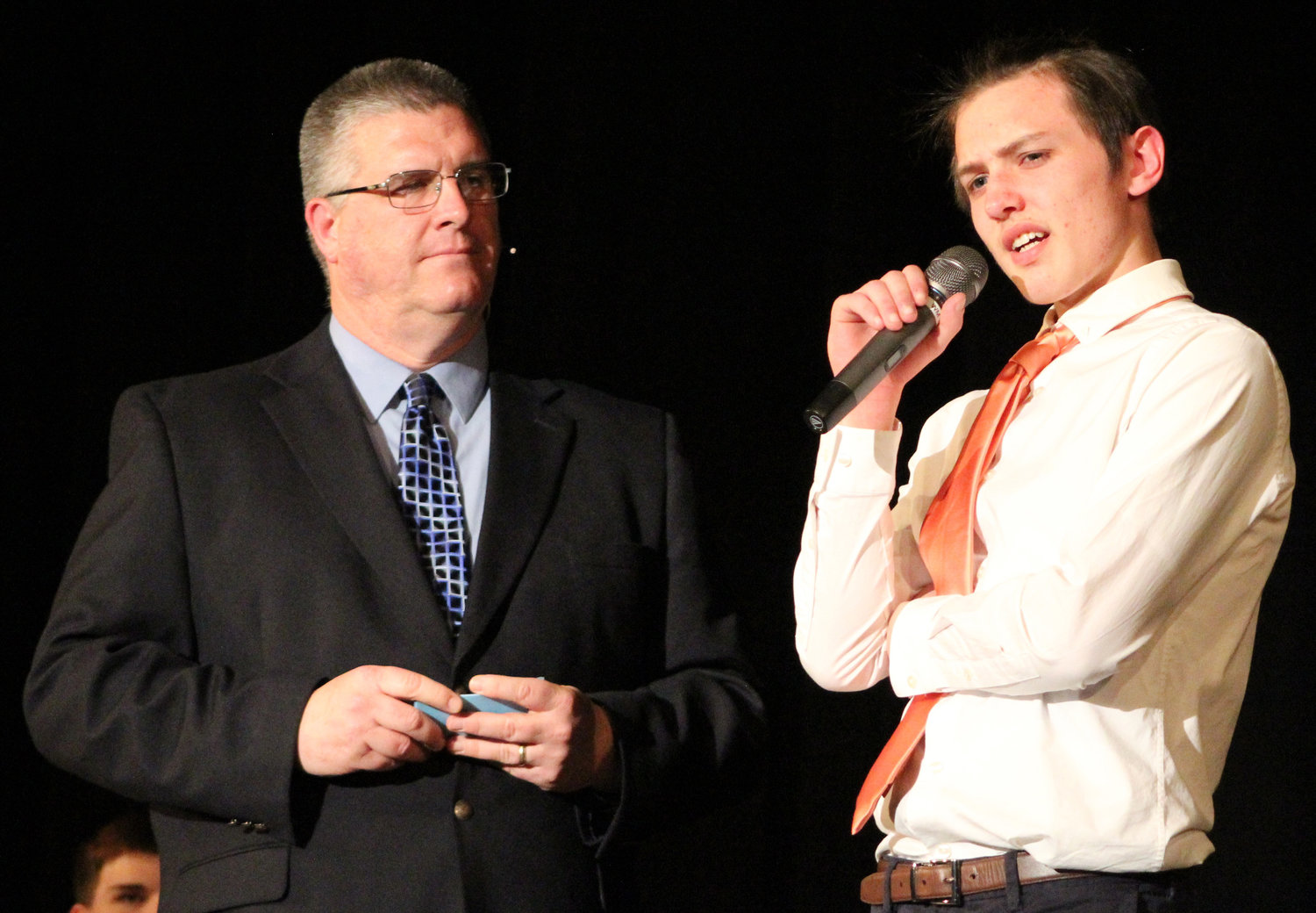 Camden Shetter answers emcee Brian Keyer's question during Mr. Middletown on March 29.