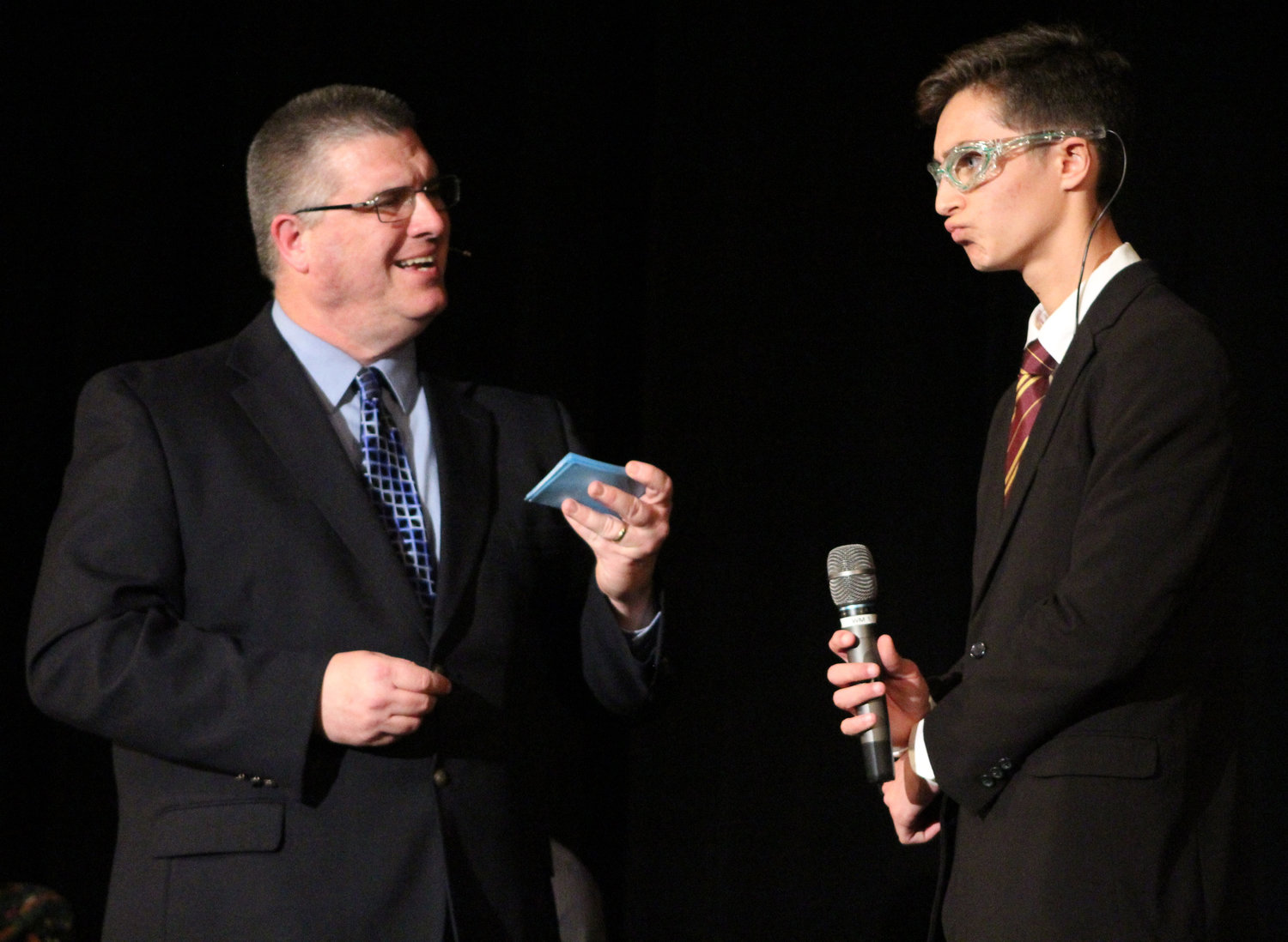 Aiden Sessa answers emcee Brian Keyer's question during Mr. Middletown on March 29.