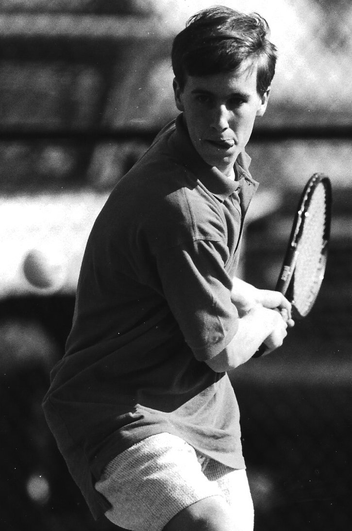 Middletown and Lower Dauphin boys tennis teams put their all into an April 2 match at LD that opened the spring season. Blue Raider Chris Feine prepares to test his backhand. Middletown emerged victorious, 5-2.