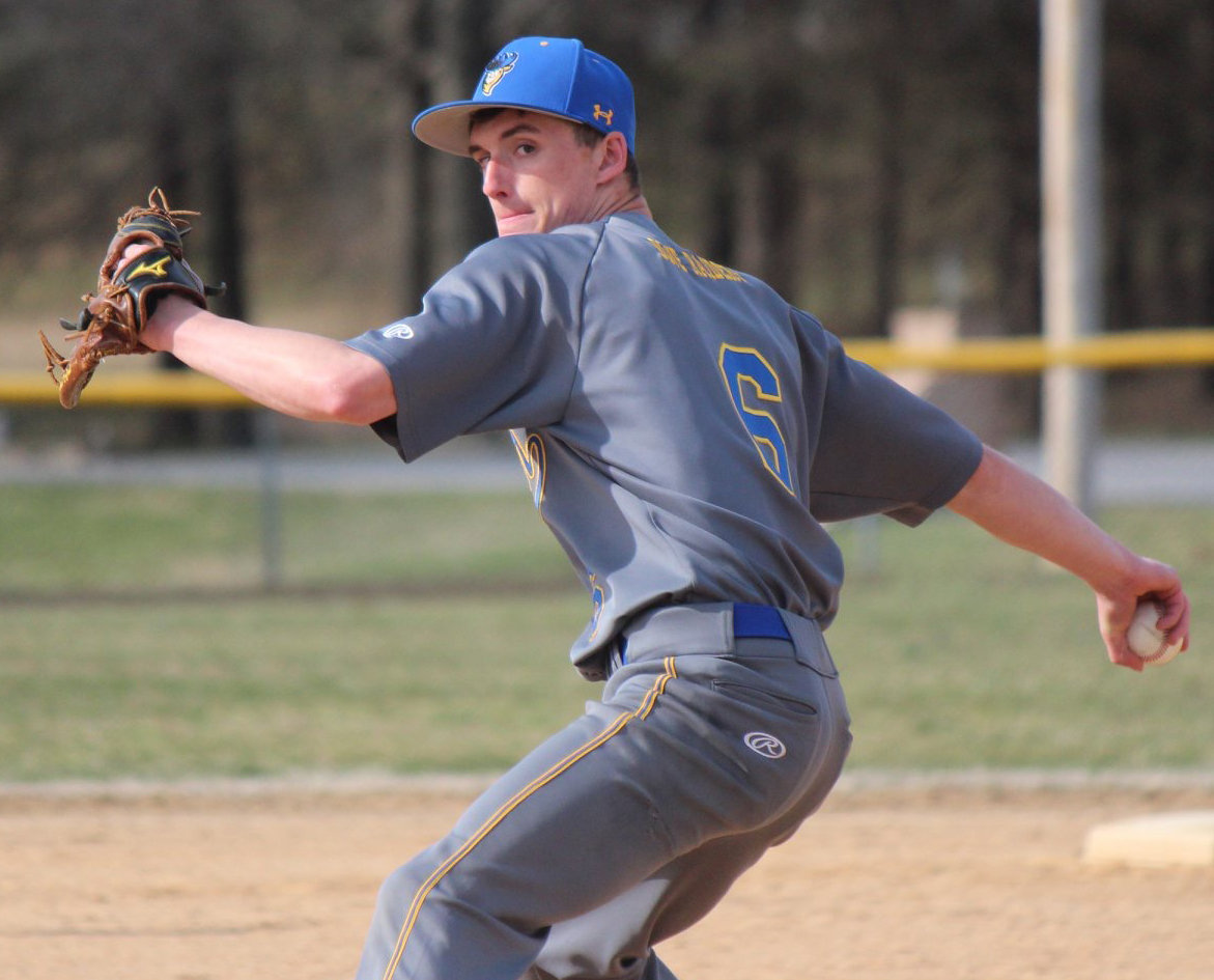 Brady Keyser fires a pitch April 4 in the Blue Raiders' game at Steelton-Highspire.