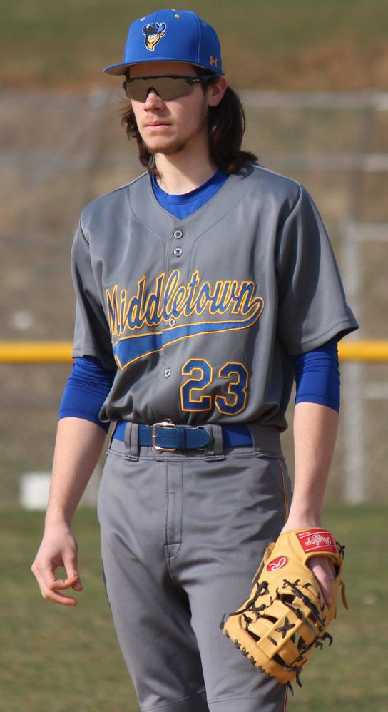 Ray Truntz is ready in the field April 4 in the Blue Raiders' game at Steelton-Highspire.