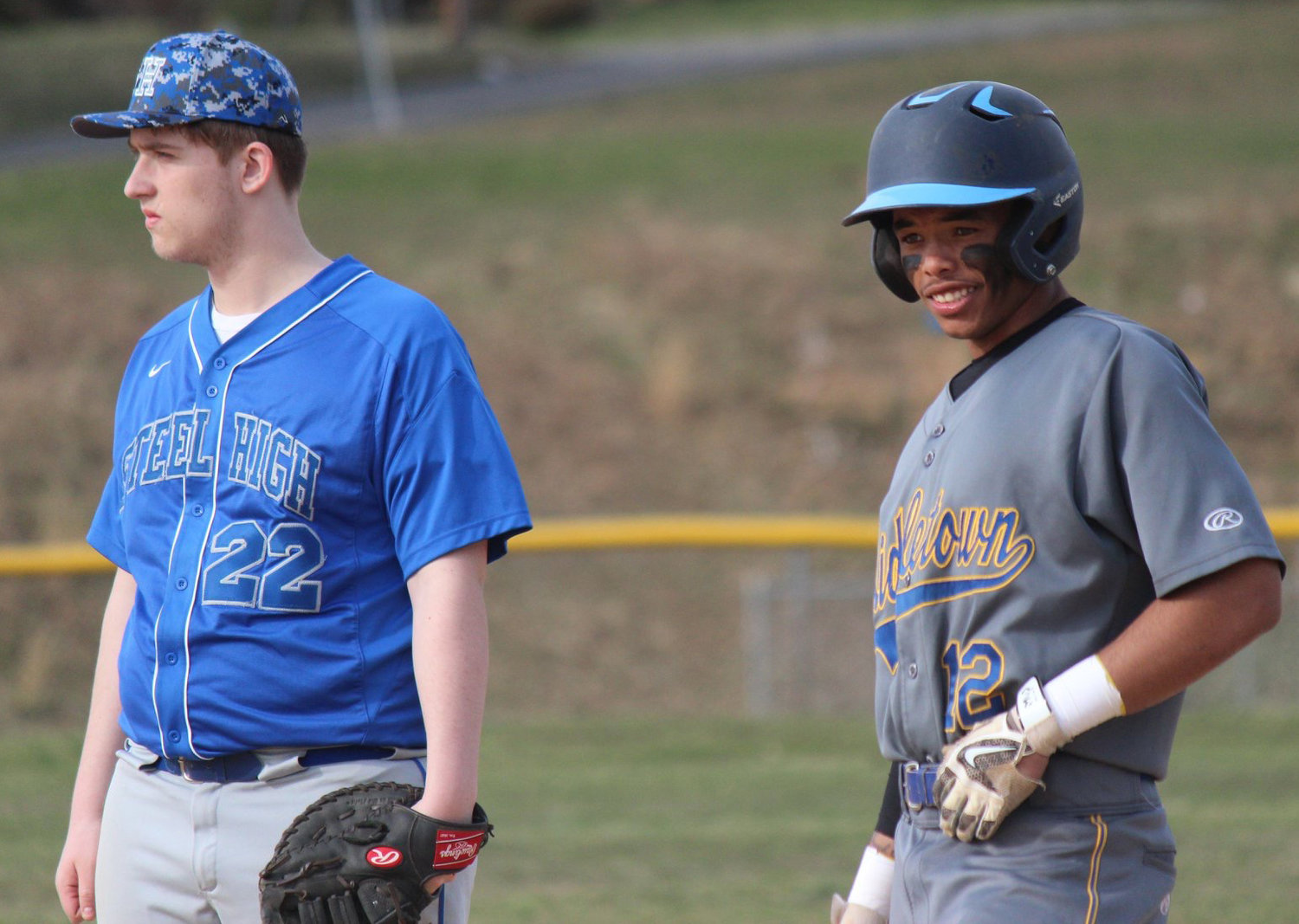 Avery Williams leads off first base April 4 in the Blue Raiders' game at Steelton-Highspire.