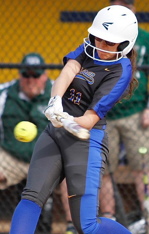 Camila Martinez takes a cut April 10 at home vs. West Perry.