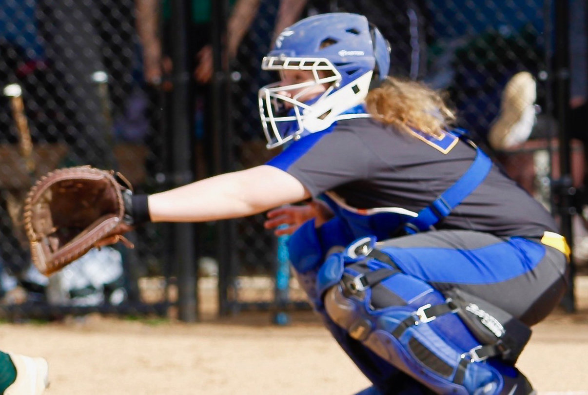 Amanda Lee works behind the place April 10 at home vs. West Perry.