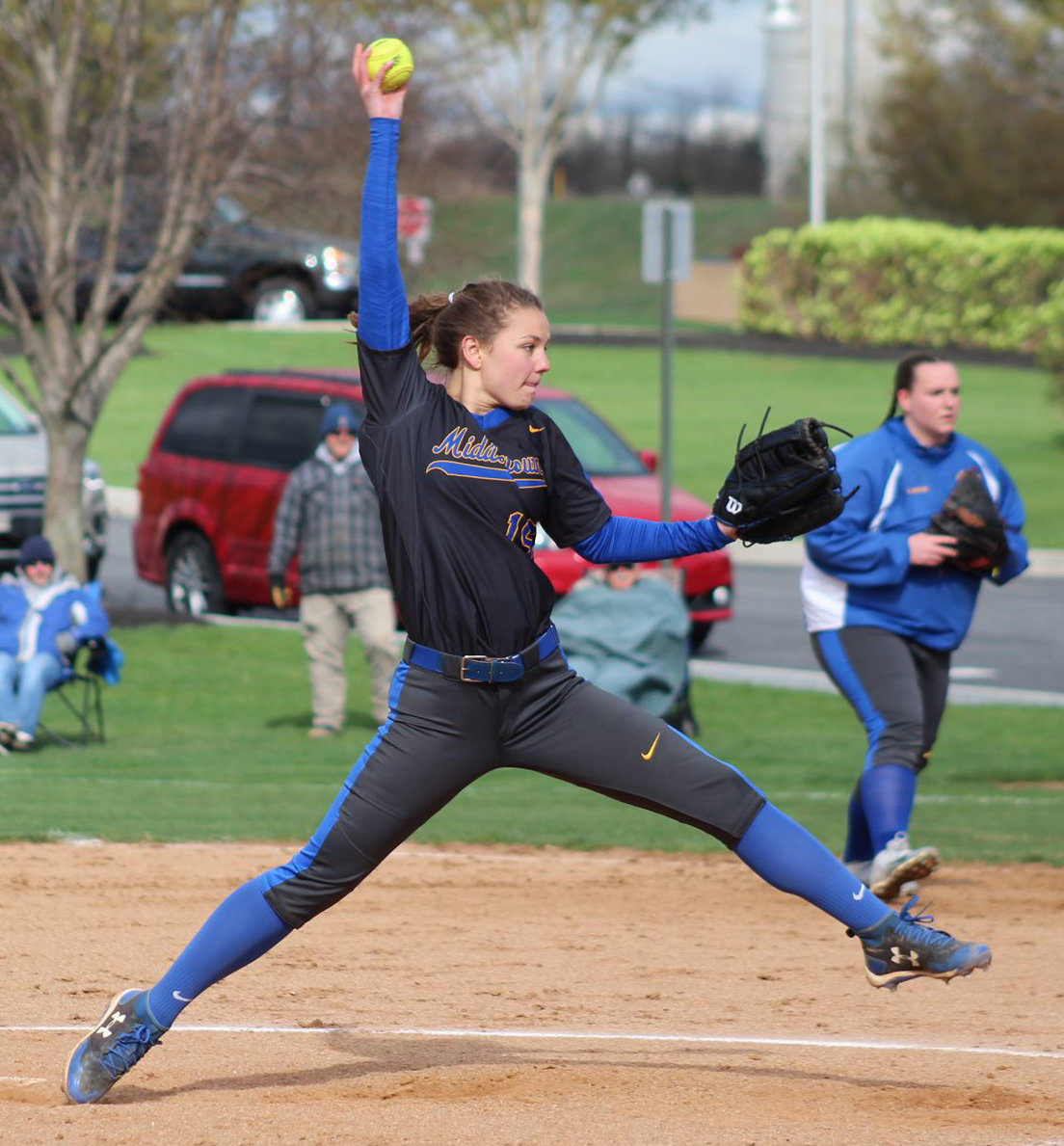 Noelle Zimmerman pitches April 15 at home against Red Land.