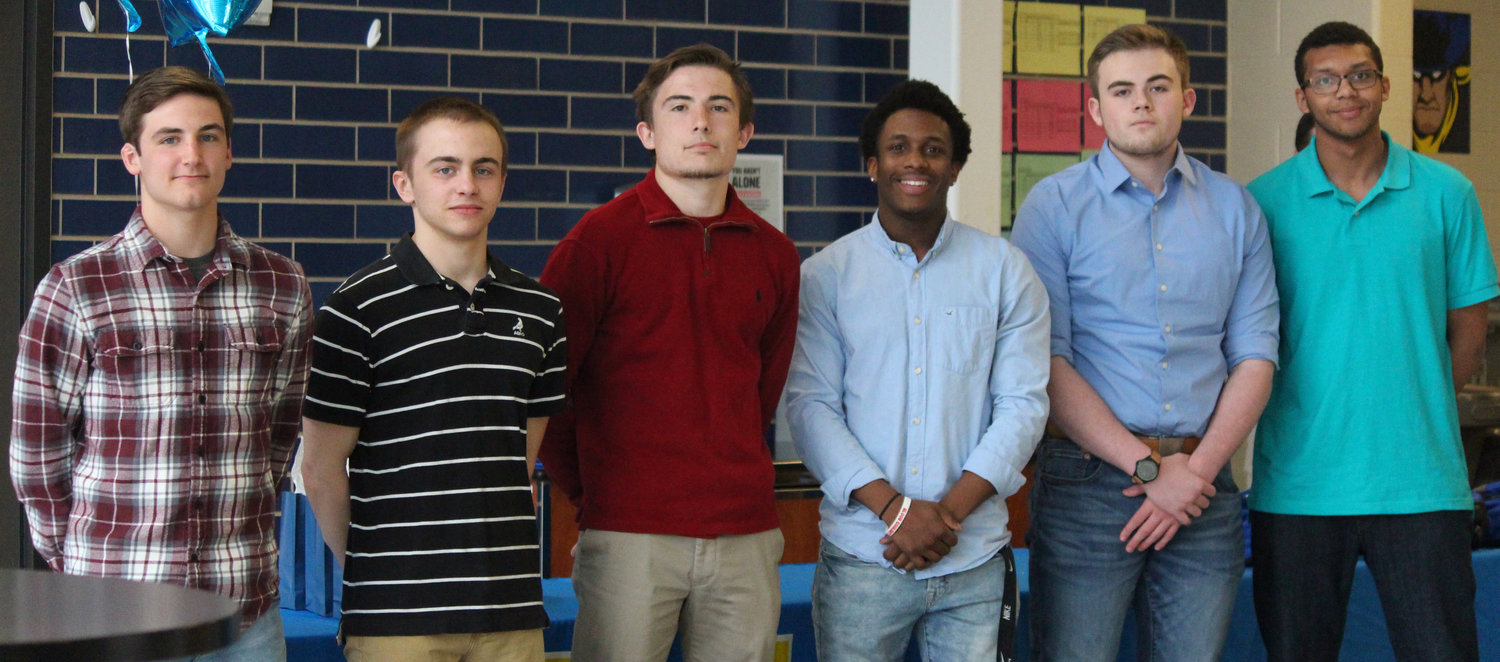 Middletown Area High School wrestling seniors recognized at the recent banquet were Ryan Berstler, Nate Brady, Kenny Britcher, Sterling Gray, Ivan Henderson, and Marcus Williams.