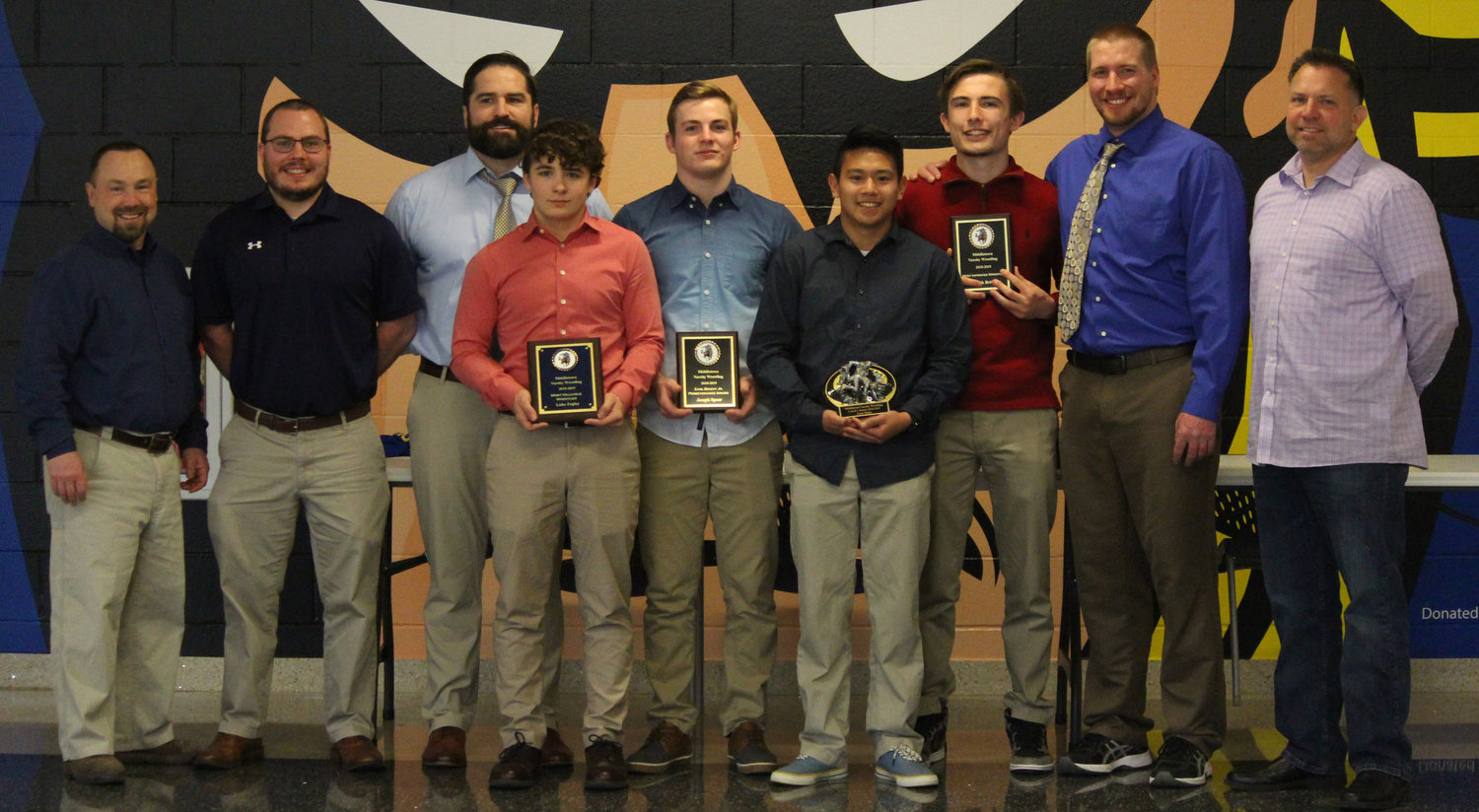 Coaches and those who were recognized at the recent Middletown Area High School wrestling banquet included coach Earl Bright IV, coach Tony Colemire, coach Dan Riggs, Luke Fegley (Outstanding Wrestler aAward), Joey Spear (Earl Bright Jr. Perseverance Award), Zach Malay (Coach's Award), Kenny Britcher (Most Improved Wrestler Award), coach Drew Heying, and coach Carl Dupes.