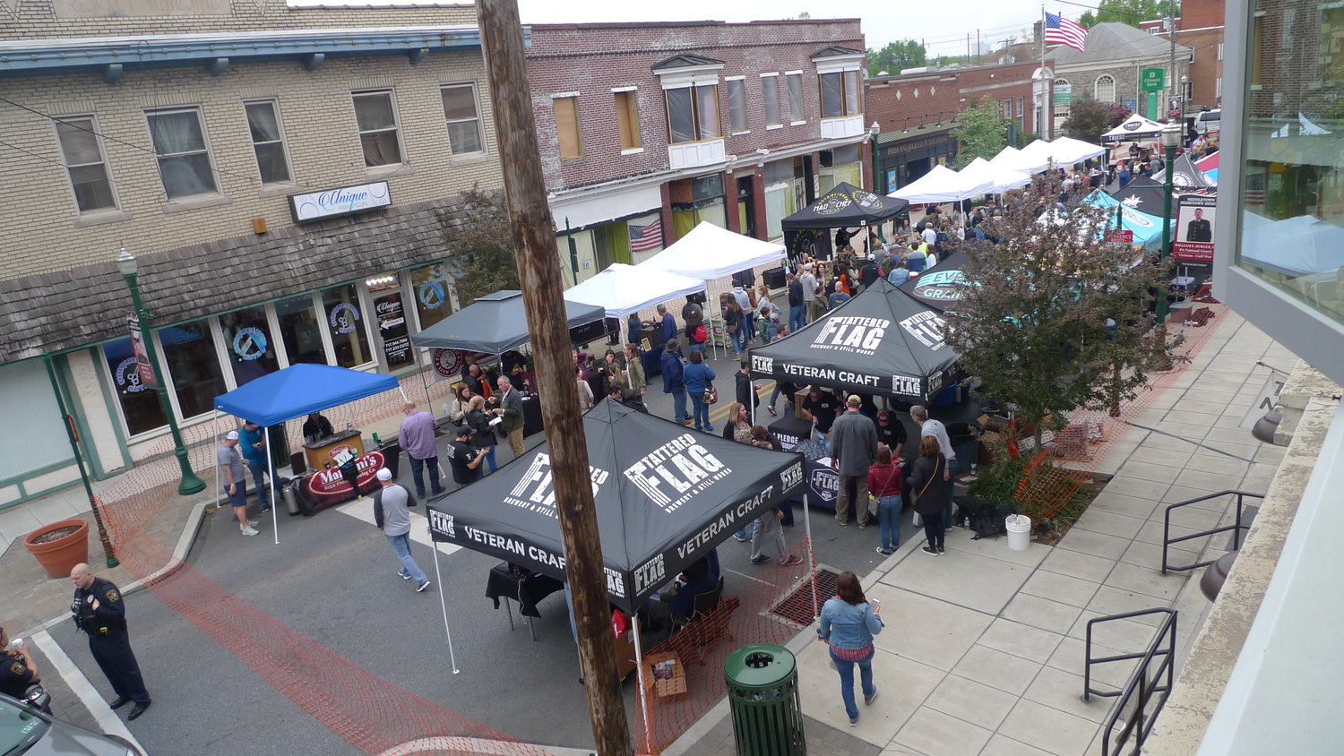 The view from the second floor of Tattered Flag of the Little Little Beer Festival on South Union Street in Middletown on May 1. Twenty-eight craft beer vendors from throughout Pennsylvania set up their stands all the way down to Brown Street.