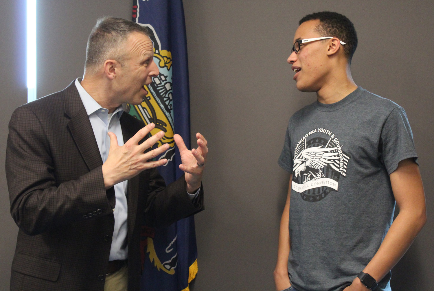 Congressman Scott Perry talks with senior Terrance Jefferson after meeting with the MAHS Youth & Government Club on May 3.