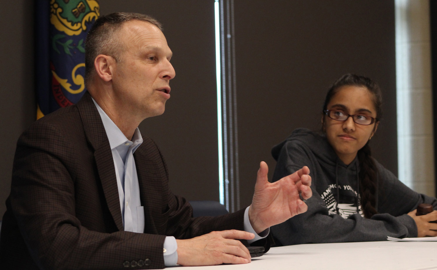 Aayushi Patel listens to Congressman Scott Perry during a meeting between the Youth & Government Club and Perry on May 3.