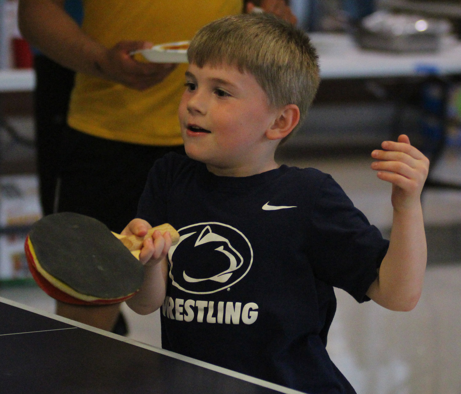 Owen Riggs plays pingpong at Middletown Area High School's Mini-THON on May 3.