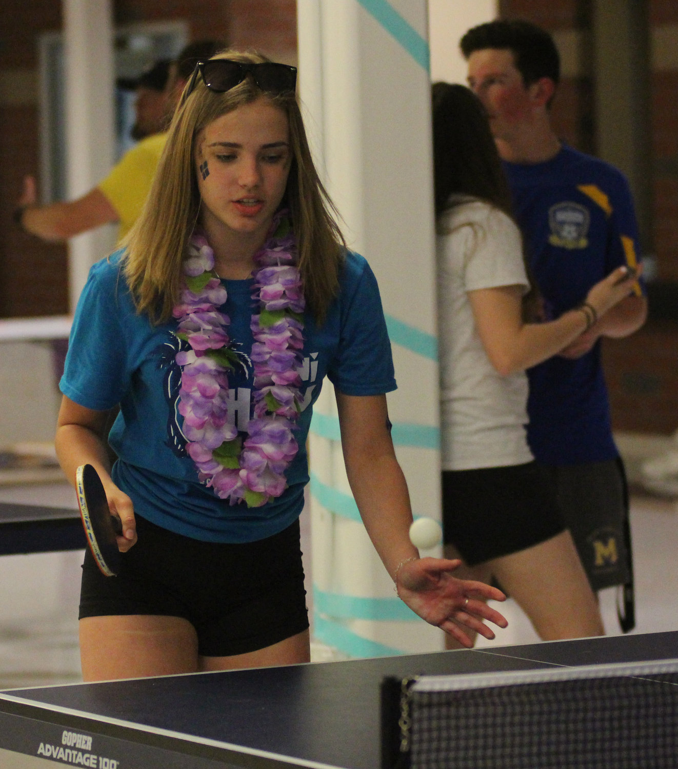 Marissa Romberger plays pingpong at Middletown Area High School's Mini-THON on May 3.