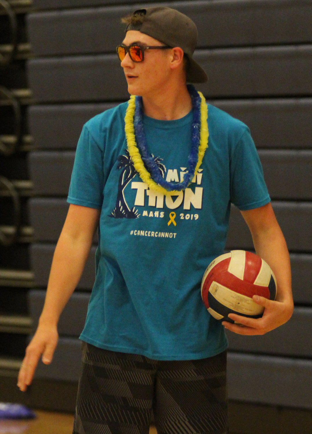 Justin Yohn gets ready for volleyball at Middletown Area High School's Mini-THON on May 3.