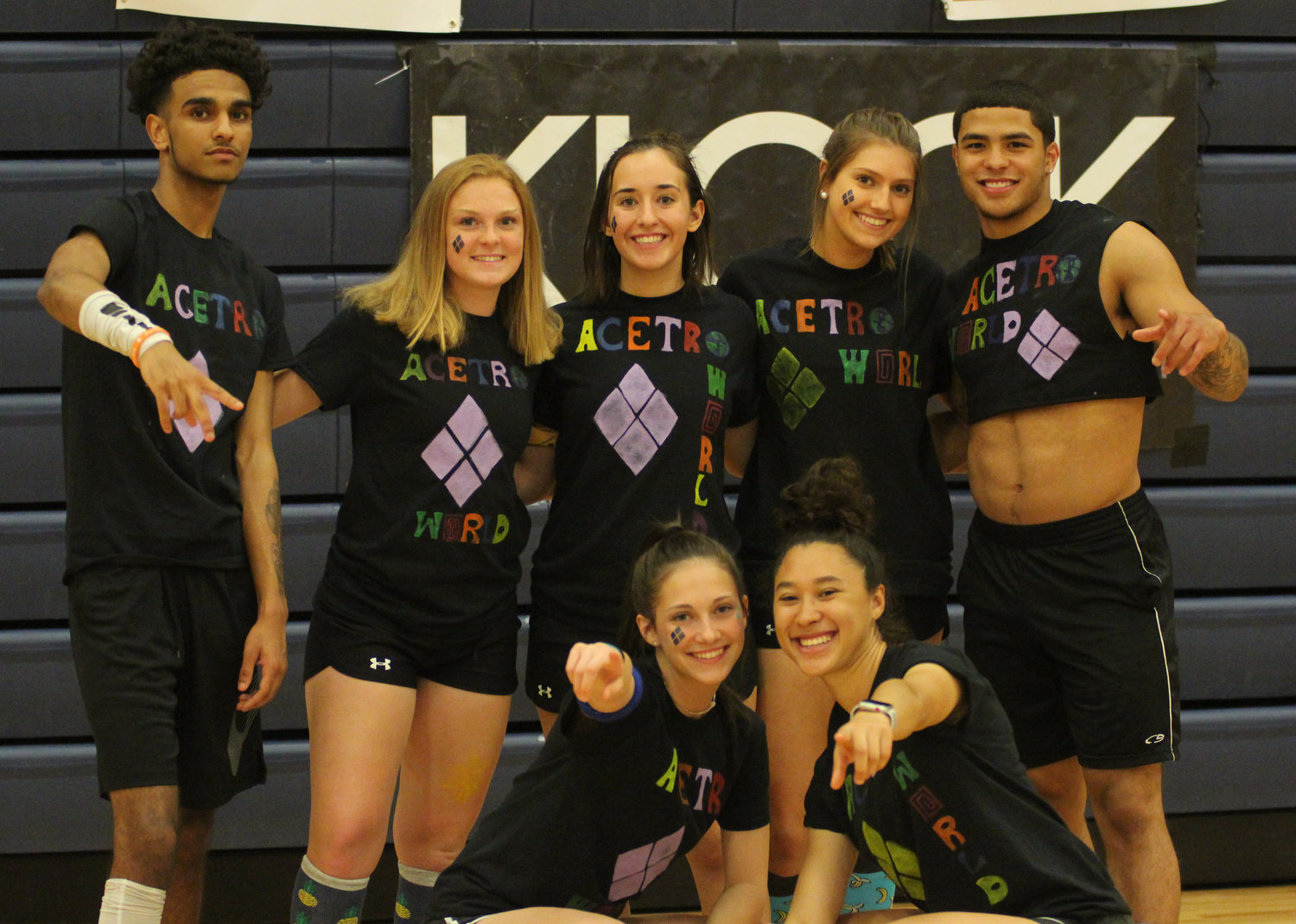 Back row, Jarrod Pugh, Jordan Dupes, Lexi Brumbach, Marie Schopf and Jose Lopez, and front row, Kiera Guckavan and Hayli Akakpo-Martin enjoy Middletown Area High School's Mini-THON on May 3.