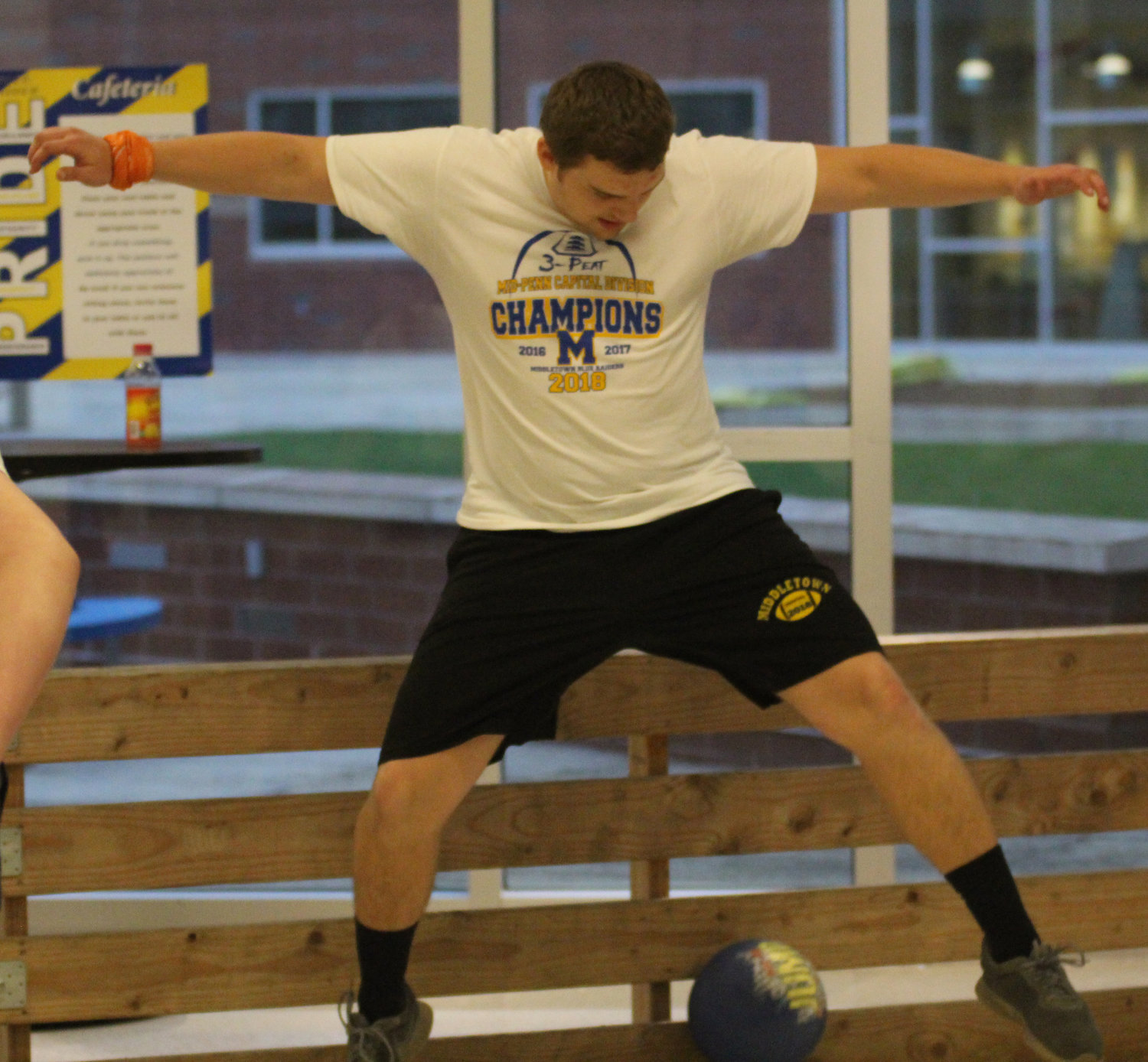 Morgan Billman plays gaga ball at Middletown Area High School's Mini-THON on May 3.