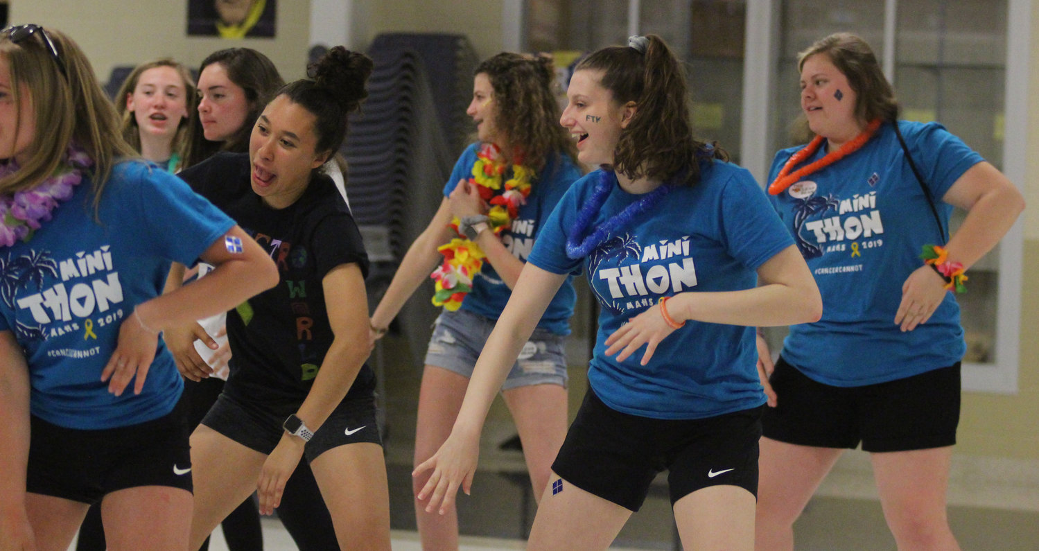 Students take part in zumba during Middletown Area High School's Mini-THON on May 3.