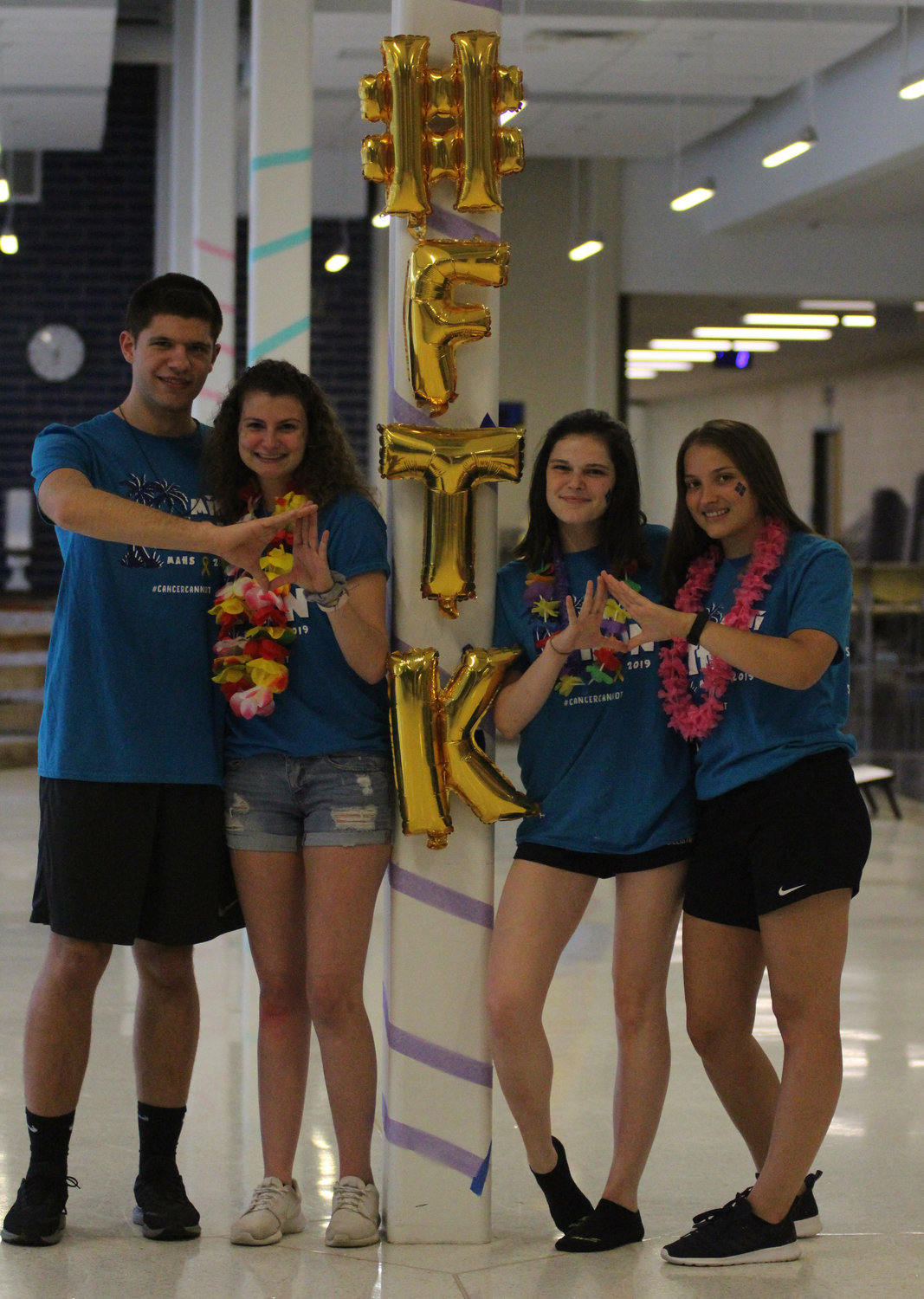 Trevor Myers, Sophia York, Isabella Stillo and Courtney Shaffer take part in Middletown Area High School's Mini-THON on May 3.