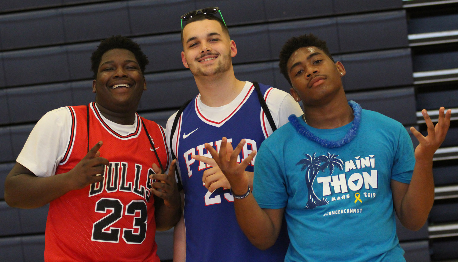 Gary Mensah, Brook Welsh and Arthur Dash enjoy Middletown Area High School's Mini-THON on May 3.