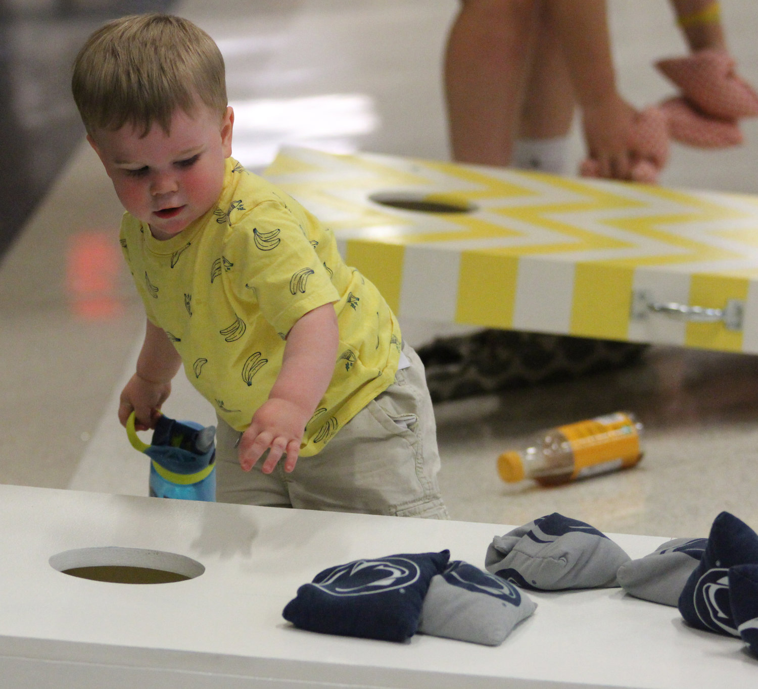 Abel Riggs plays cornhole at Middletown Area High School's Mini-THON on May 3.