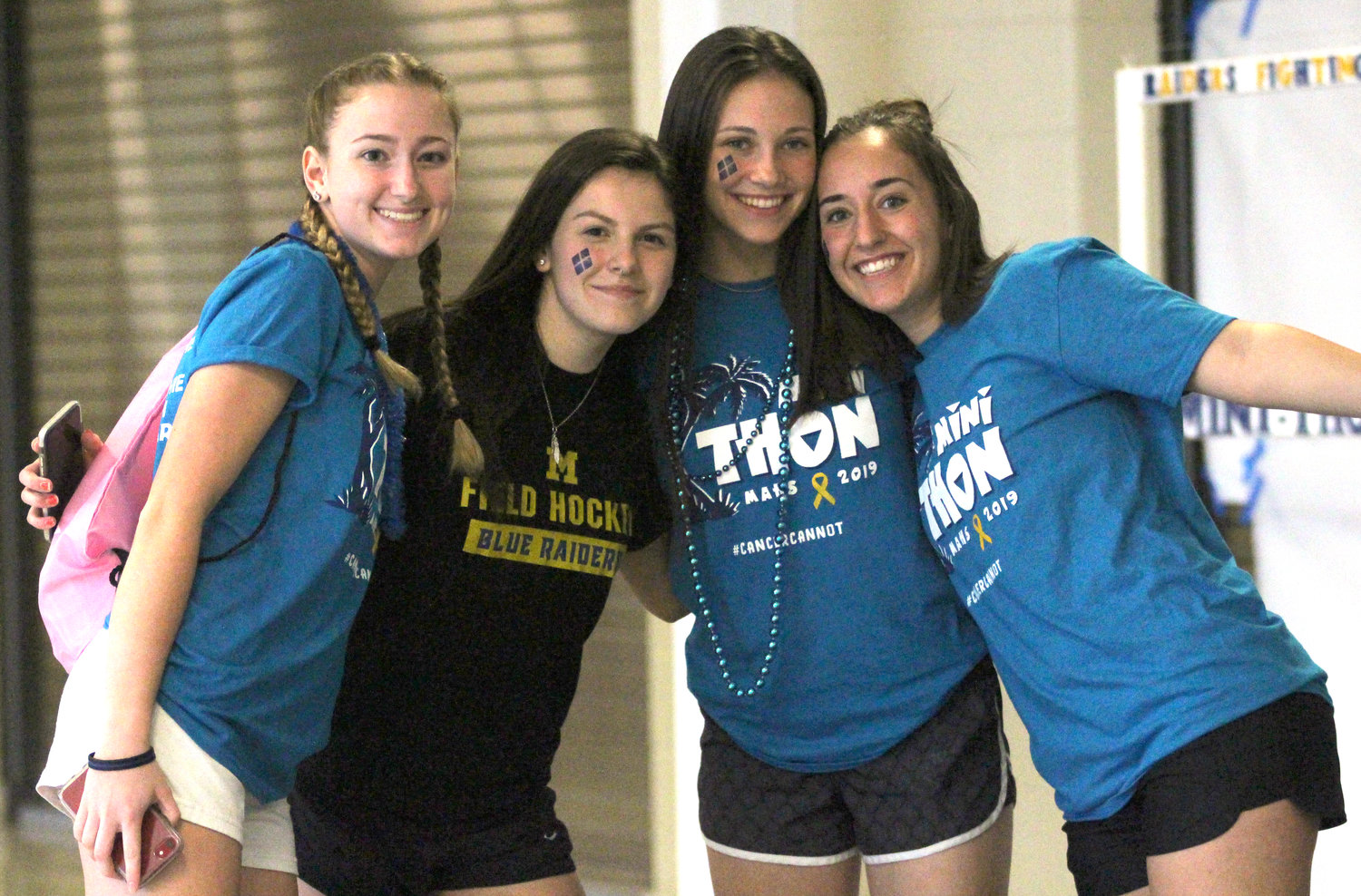 Macy Appleby, Andrea Rivas, Kiera Guckavan and Lexi Brumbach enjoy Middletown Area High School's Mini-THON on May 3.