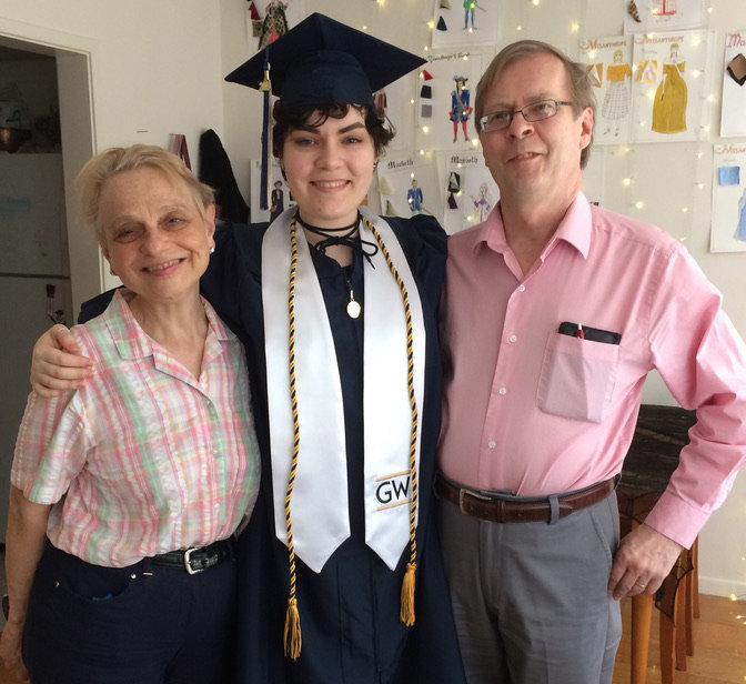 Susannah Gal, daughter Katrin Baxter and husband/father Hilton Baxter prepare Saturday for Katrin's graduation ceremony at George Washington University in Washington, D.C.