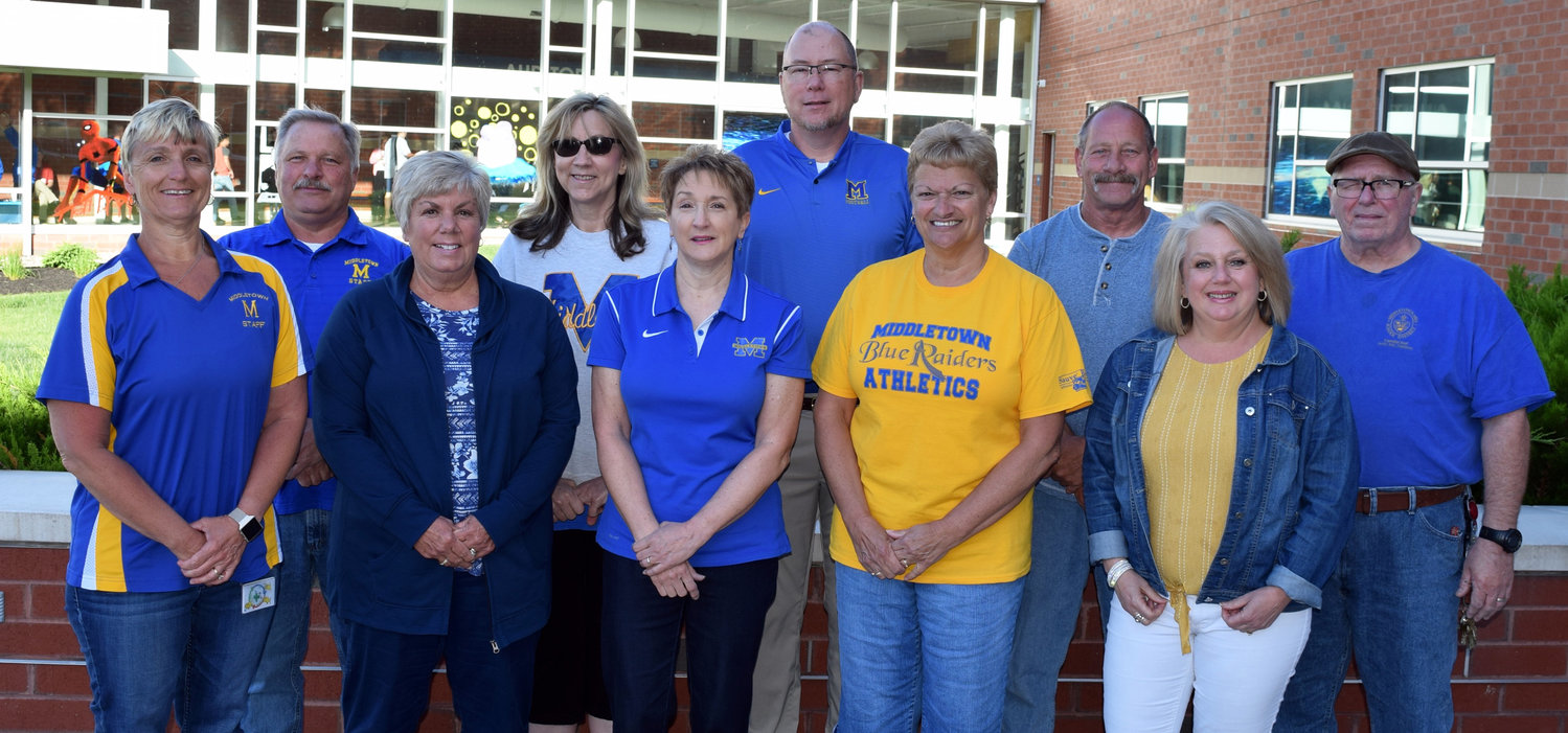Ten employees will retire from the Middletown Area School District at the end of the school year. In the back row are Robert K. Stitt (32 years of service); Karen L. Battenhausen (25 years); Jonathan E. Dickey (31 years); Michael L. Blouch (28 years, retired in March); and Edward N. Heisey Sr. (10 years). In the front row are Linda W. Eppley (14 years); Kathleen A. Weltmer (25 years, retired in December); Betsy A. Berstler (34 years); Barbara J. Ebersole (25 years); and Susan M. Davis (33 years).